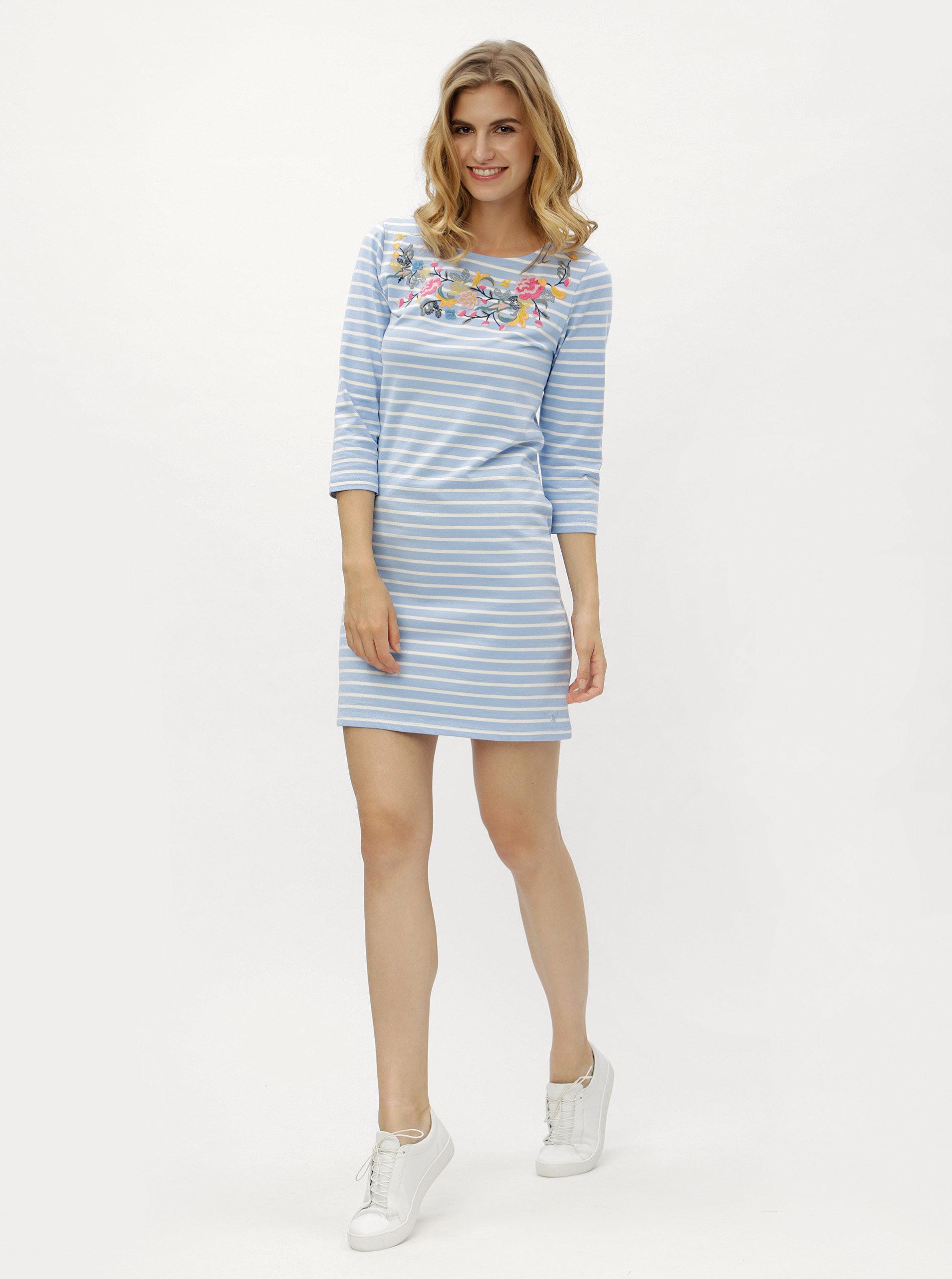 Krémovo-modré dámské pruhované šaty s výšivkou Tom Joule Riviera ... 55f2d98ac8