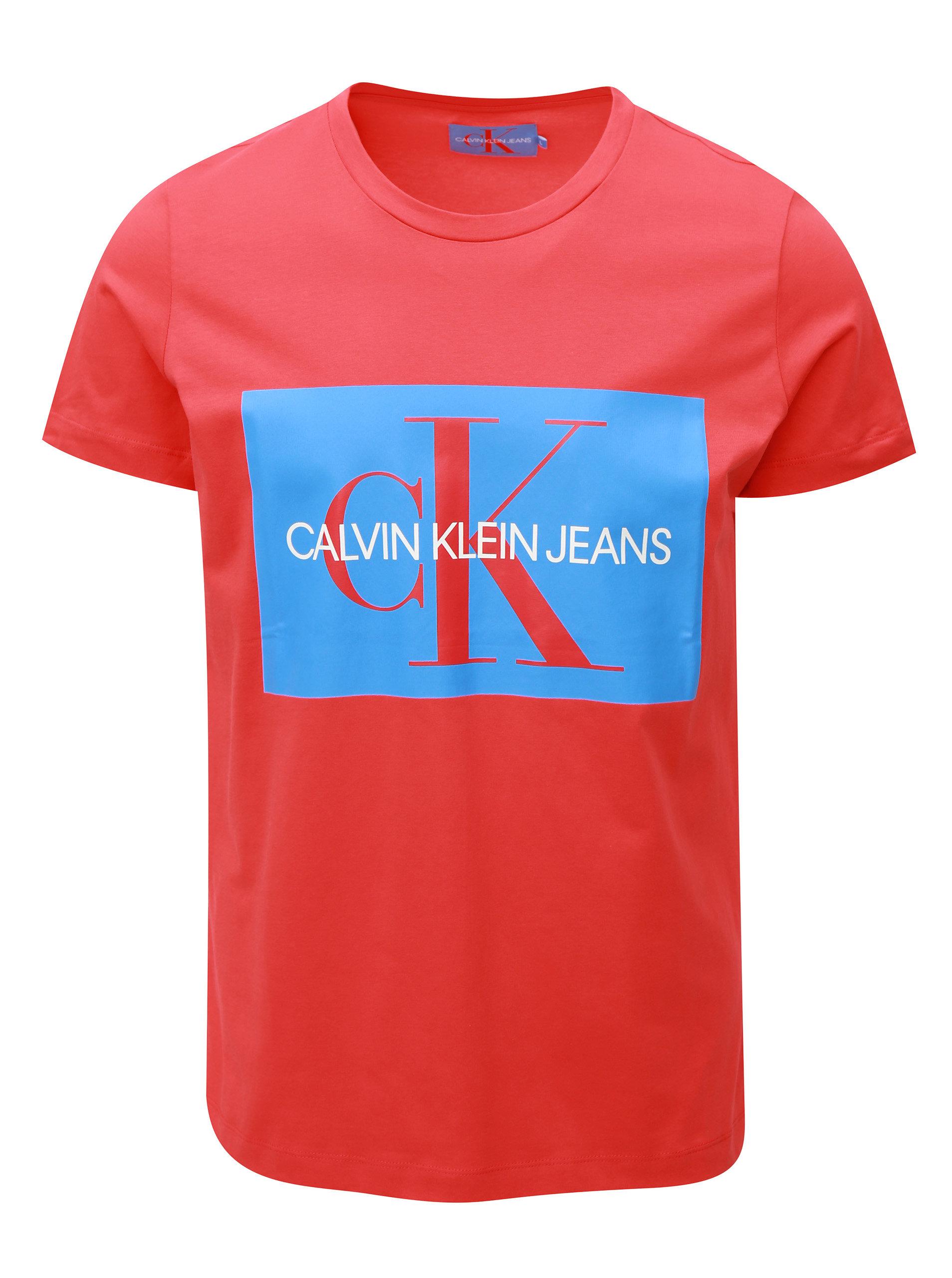 15124d7f375 Červené pánské tričko s potiskem Calvin Klein Jeans ...