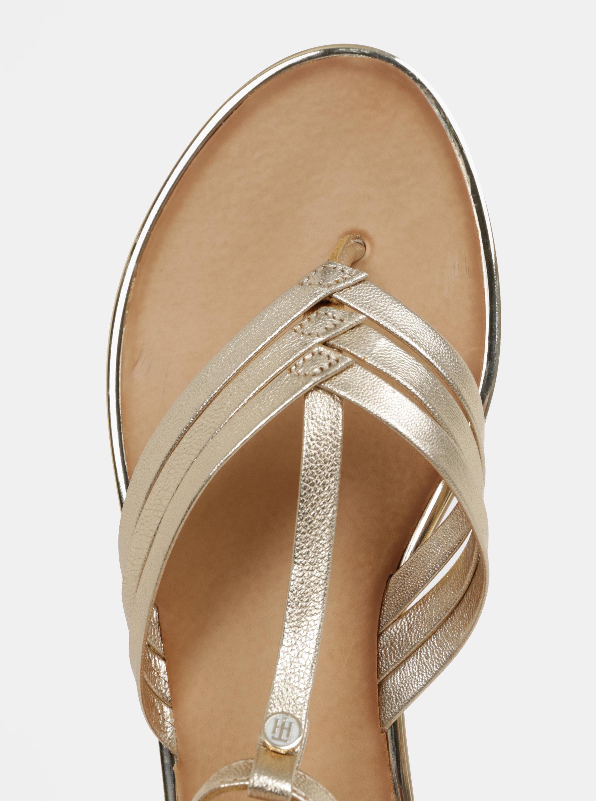 Dámské kožené sandály ve zlaté barvě Tommy Hilfiger ... 712f856daf