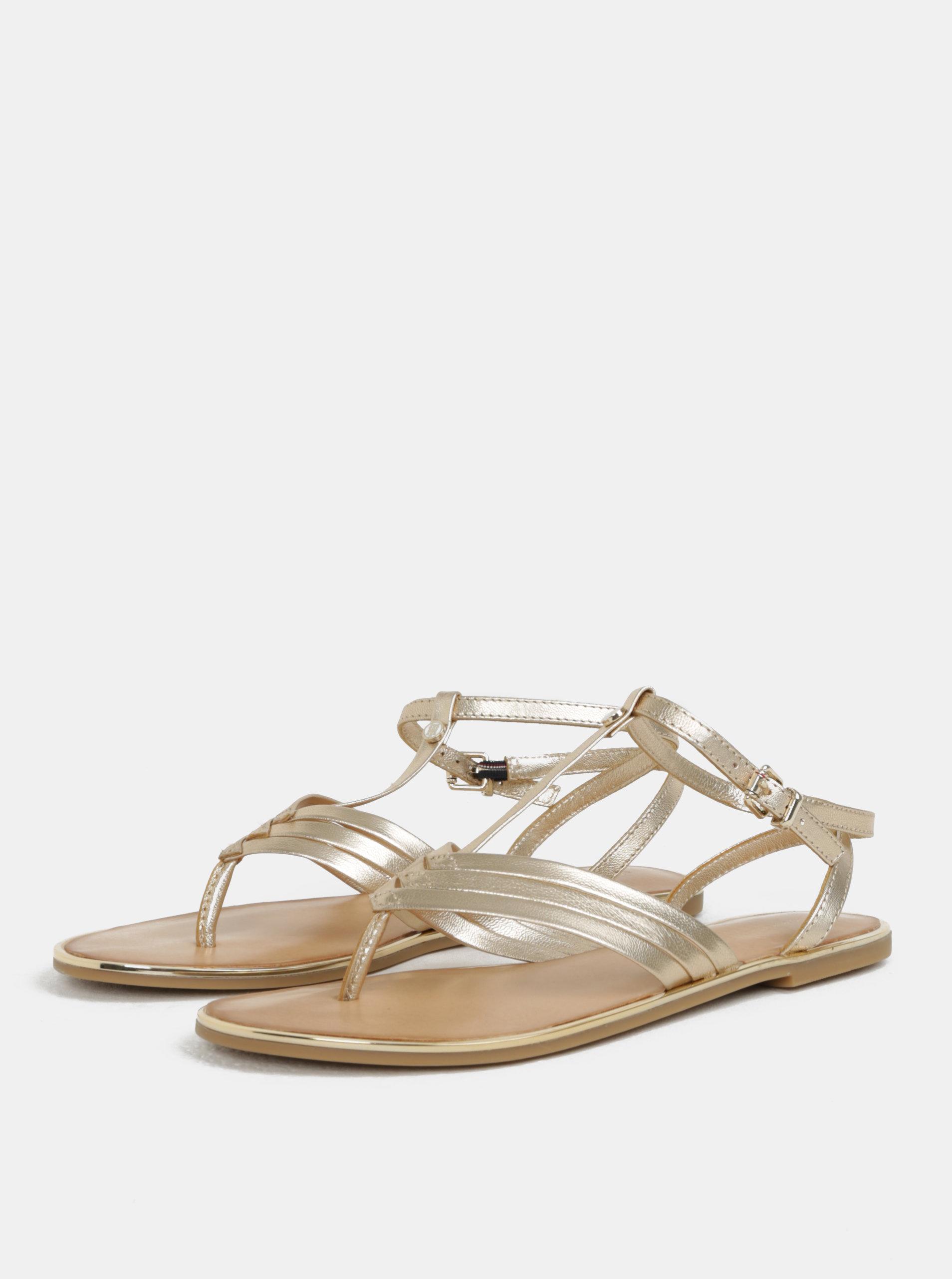 Dámské kožené sandály ve zlaté barvě Tommy Hilfiger ... 0d114e0b434