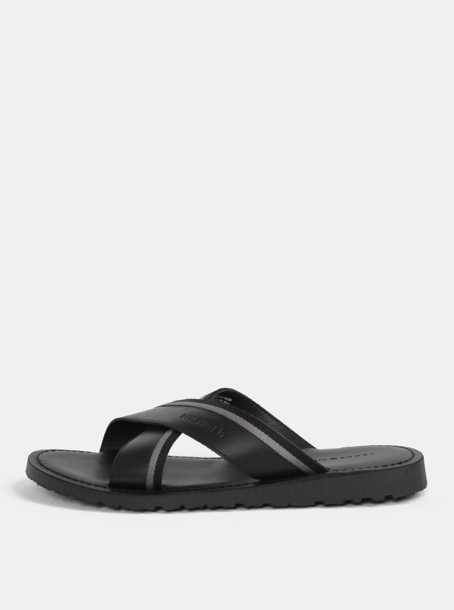 Černé pánské kožené pantofle Tommy Hilfiger