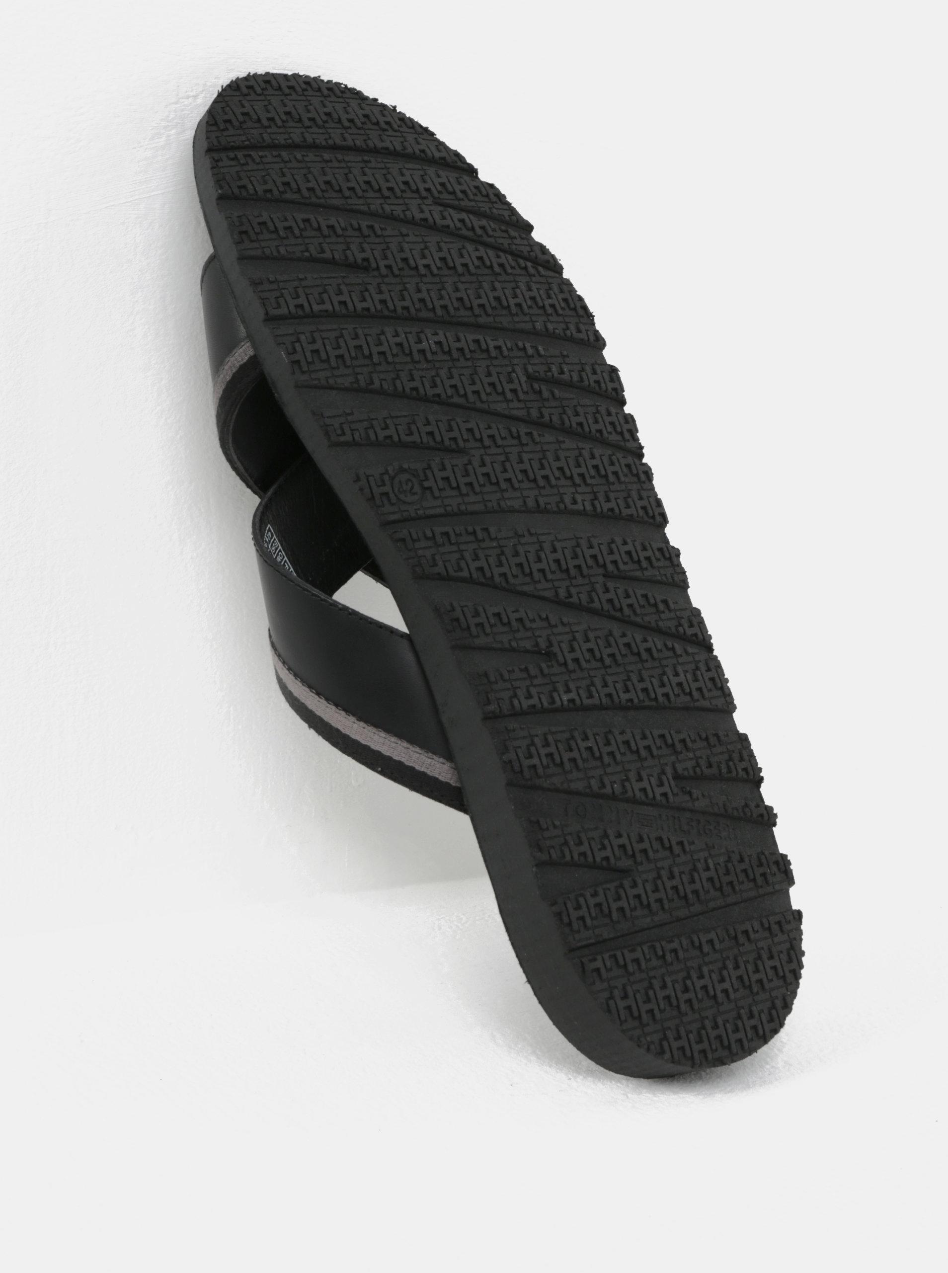 Čierne pánske kožené šľapky Tommy Hilfiger ... 572a919417