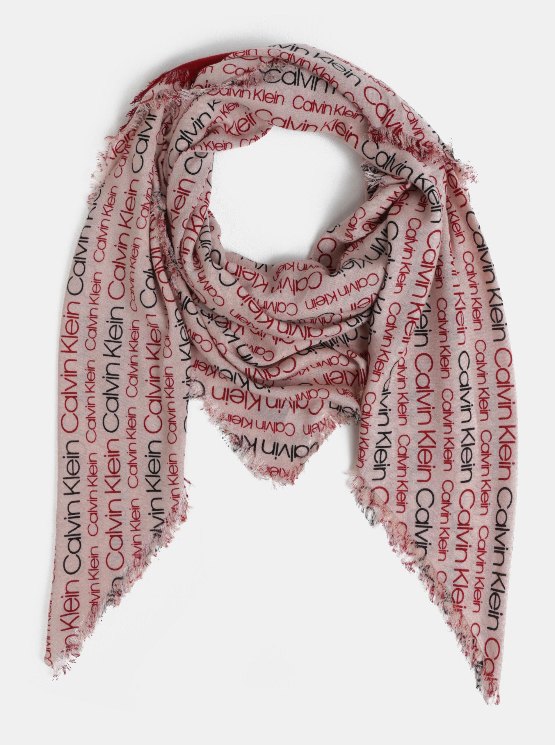 Červeno-růžový dámský šátek Calvin Klein Jeans ... 6f7e511995