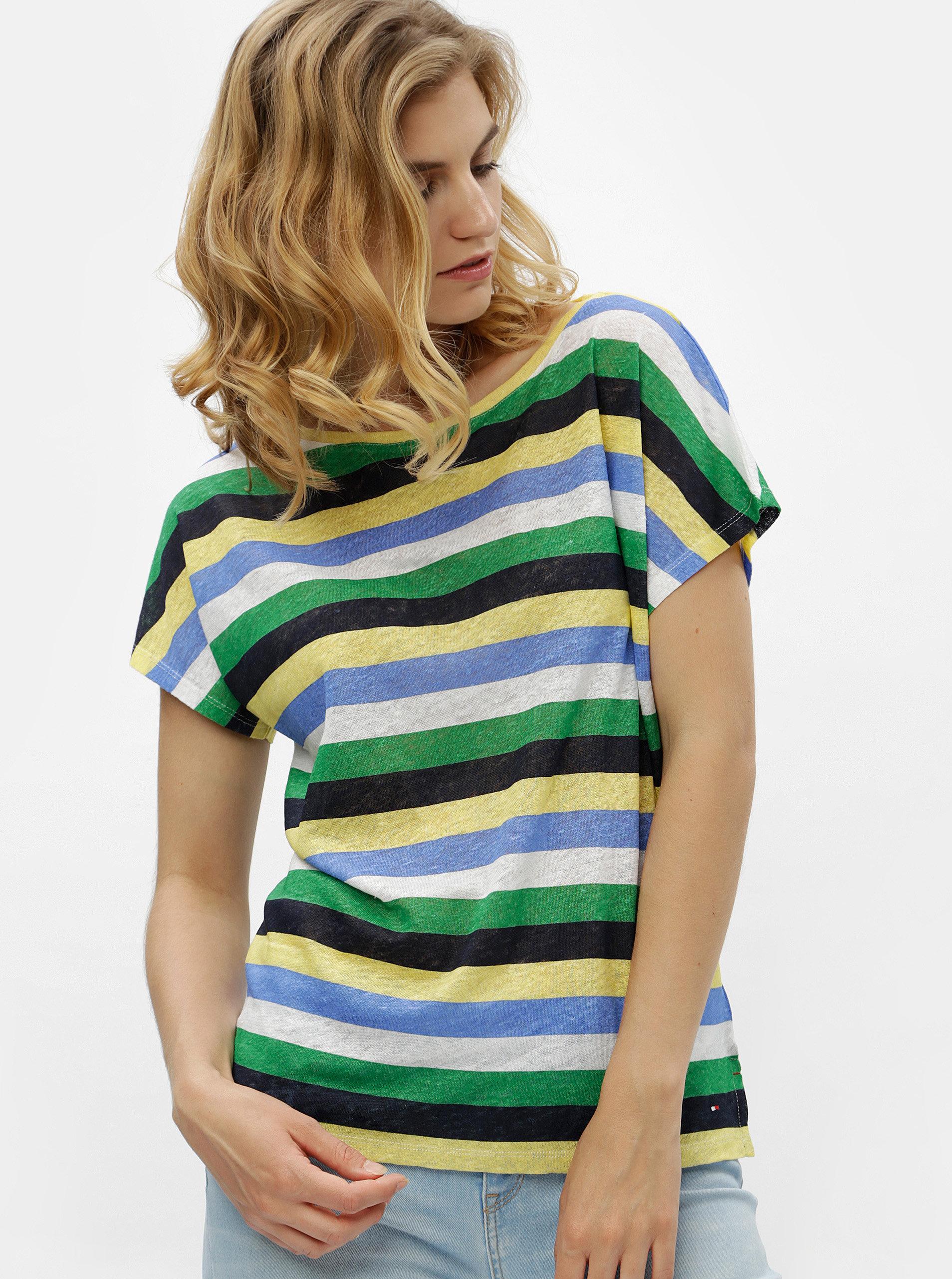 Zeleno-žluté dámské pruhované lněné tričko Tommy Hilfiger ... 73ddecce13