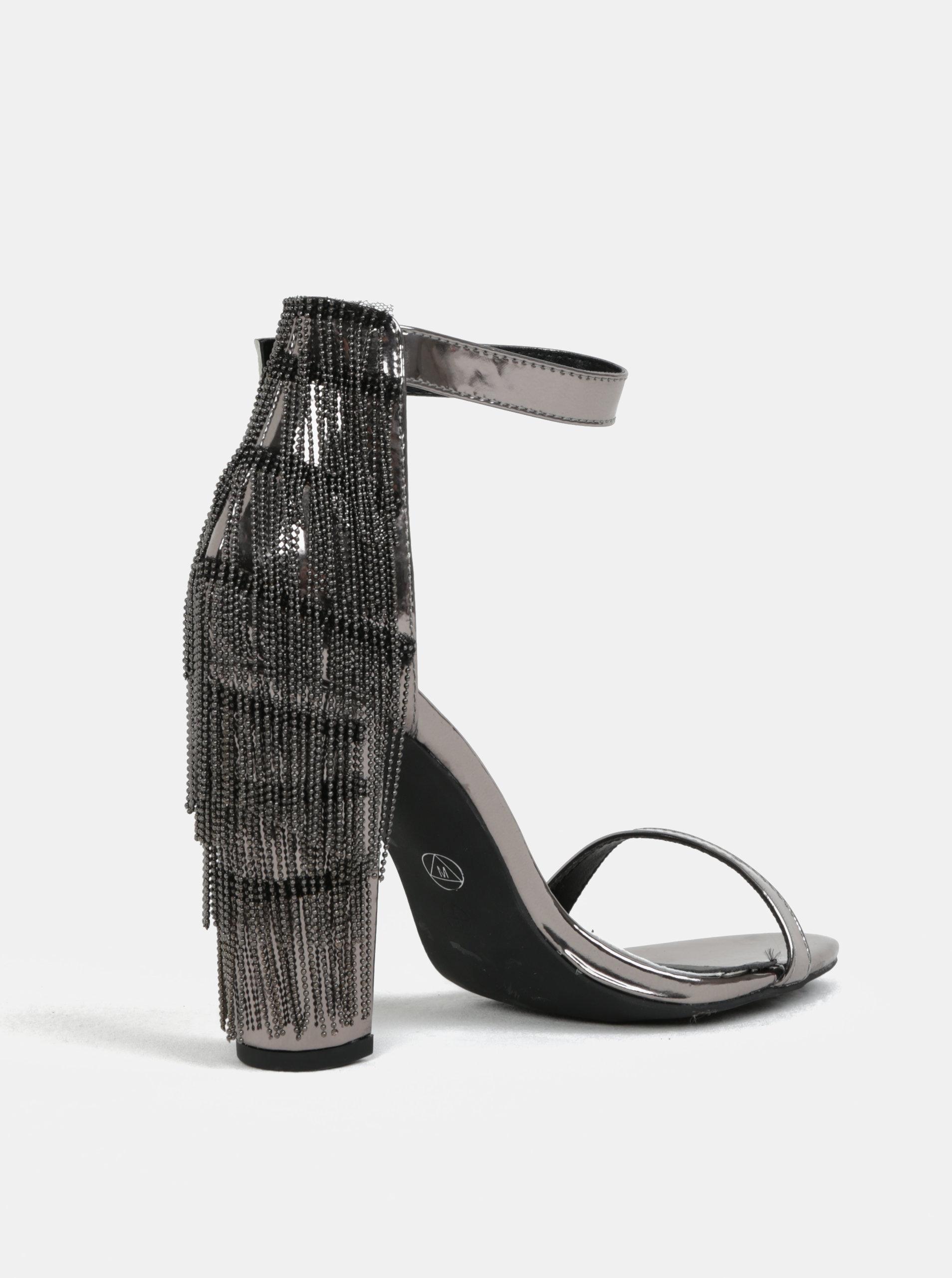 3aaf4d6673ff Metalické sandálky na podpätku v striebornej farbe MISSGUIDED ...