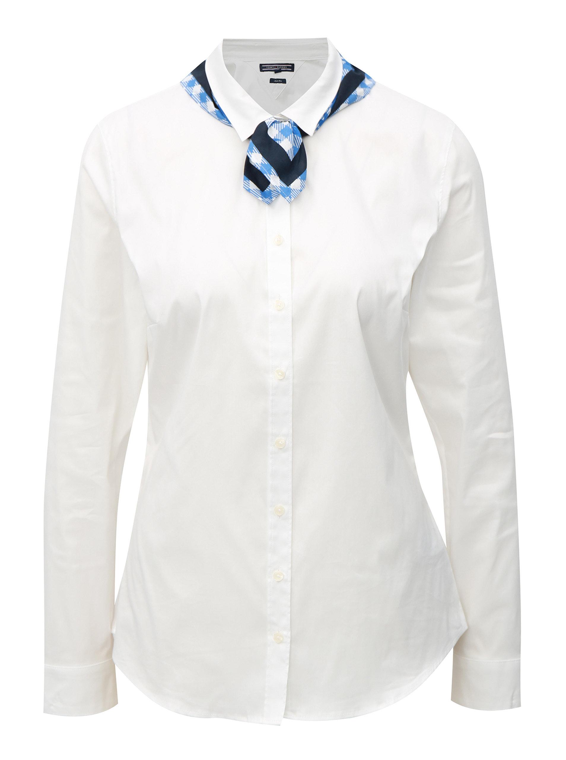 Biela dámska slim fit košeľa s dvoma šatkami Tommy Hilfiger ... de474242a6c
