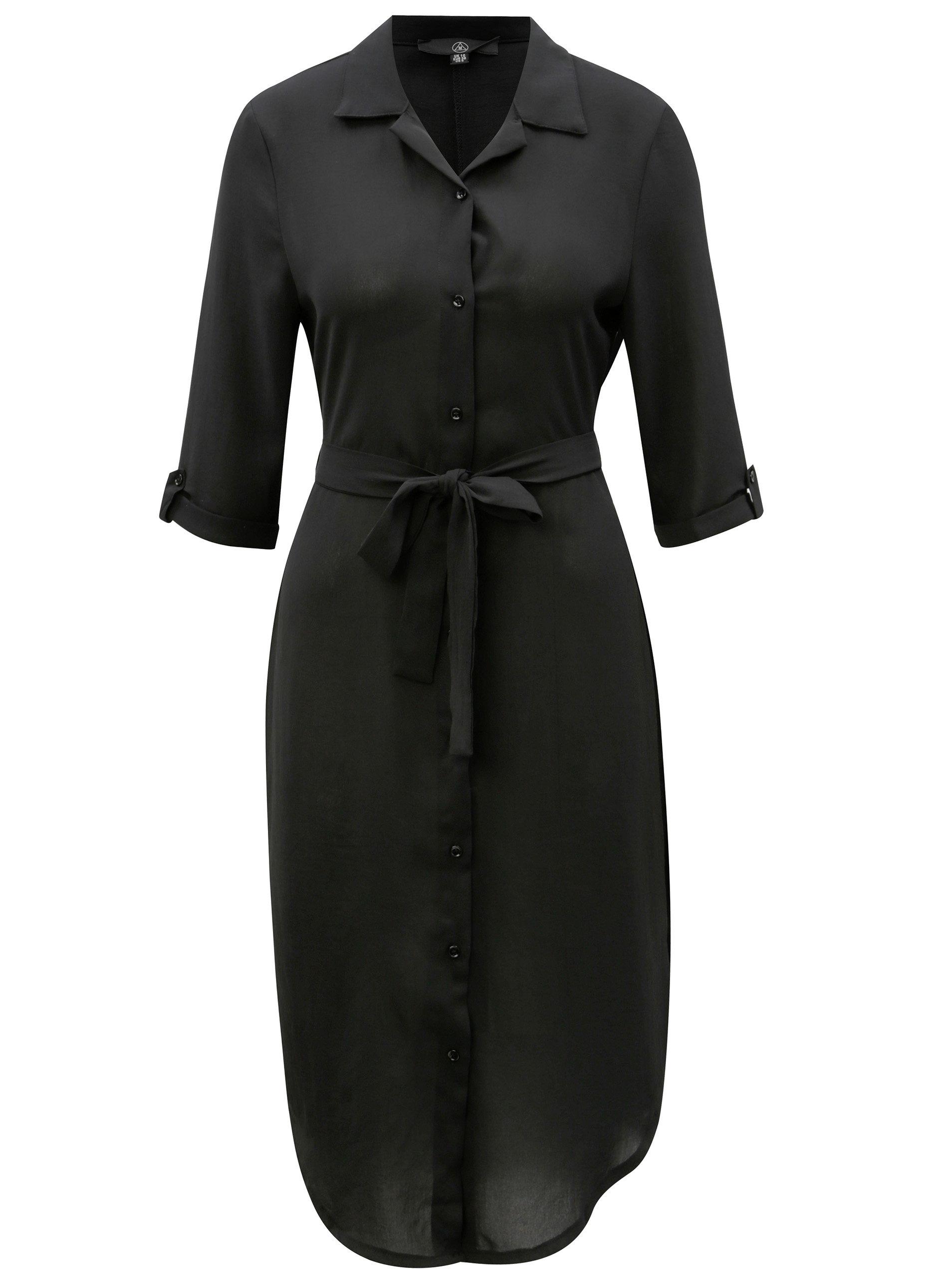 daa564e7797 Černé průsvitné košilové šaty s 3 4 rukávem MISSGUIDED ...