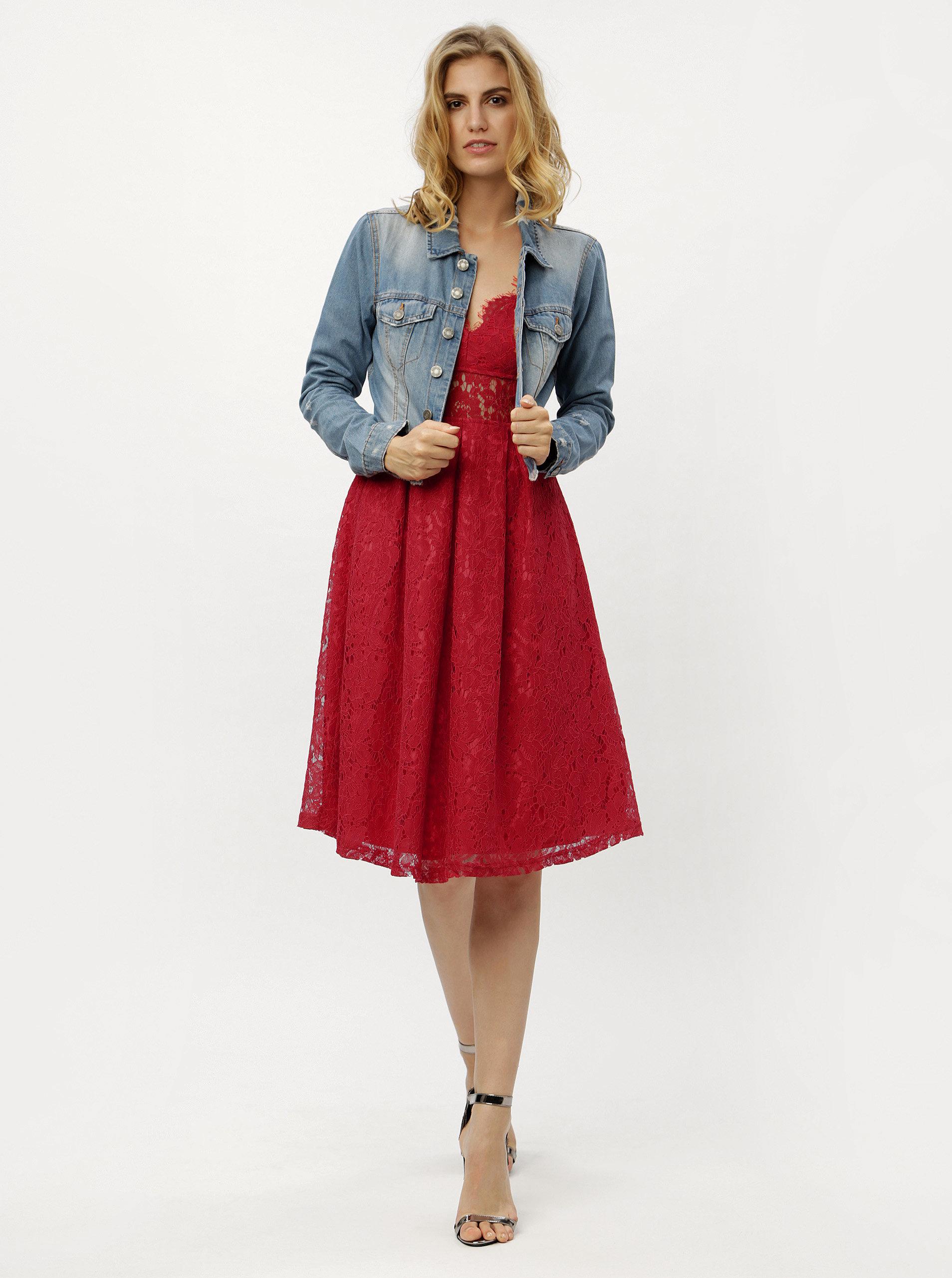 c1203c5da9dd Červené čipkované šaty MISSGUIDED ...