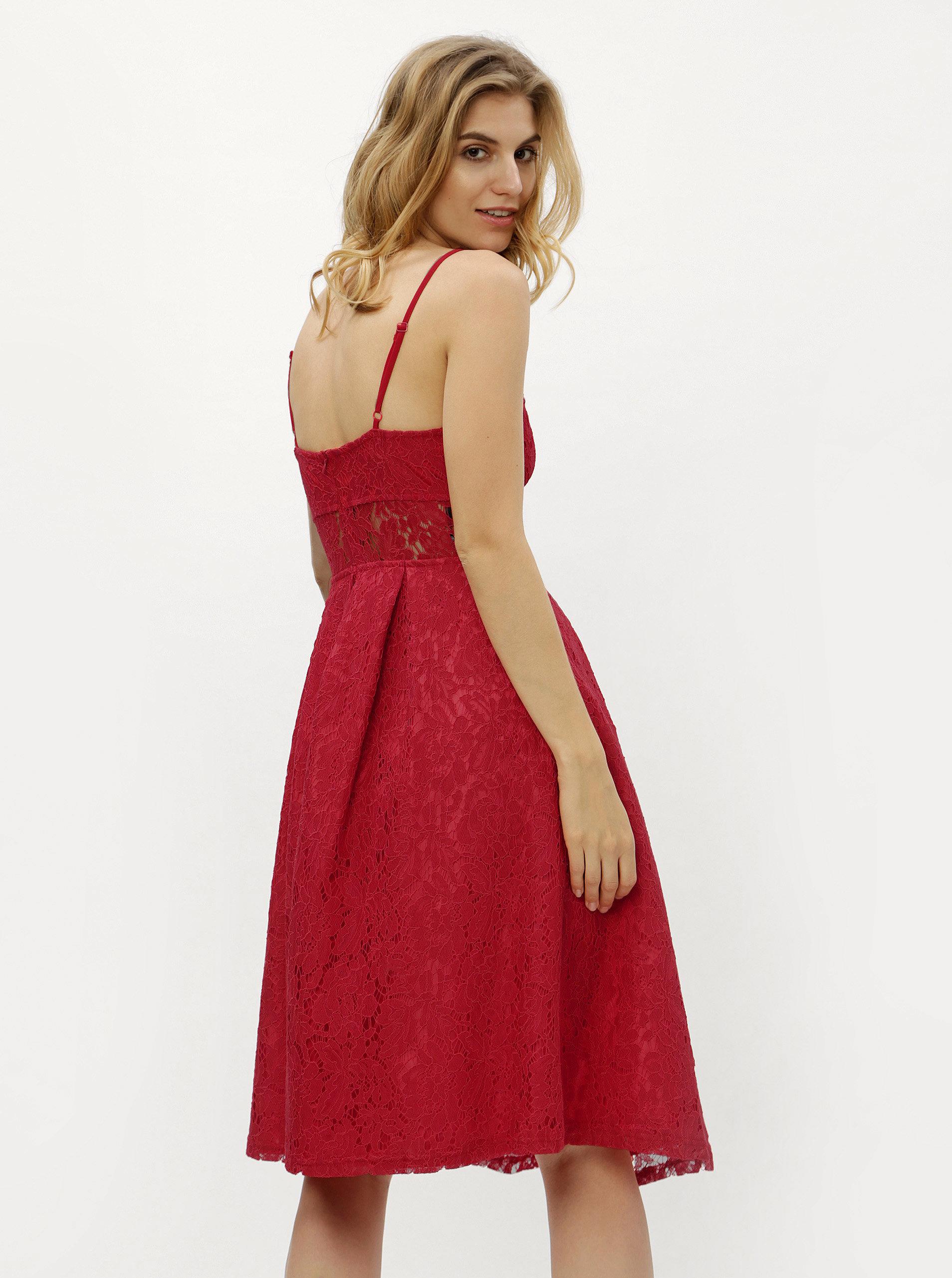 aeeea5d05cde Červené čipkované šaty MISSGUIDED ...