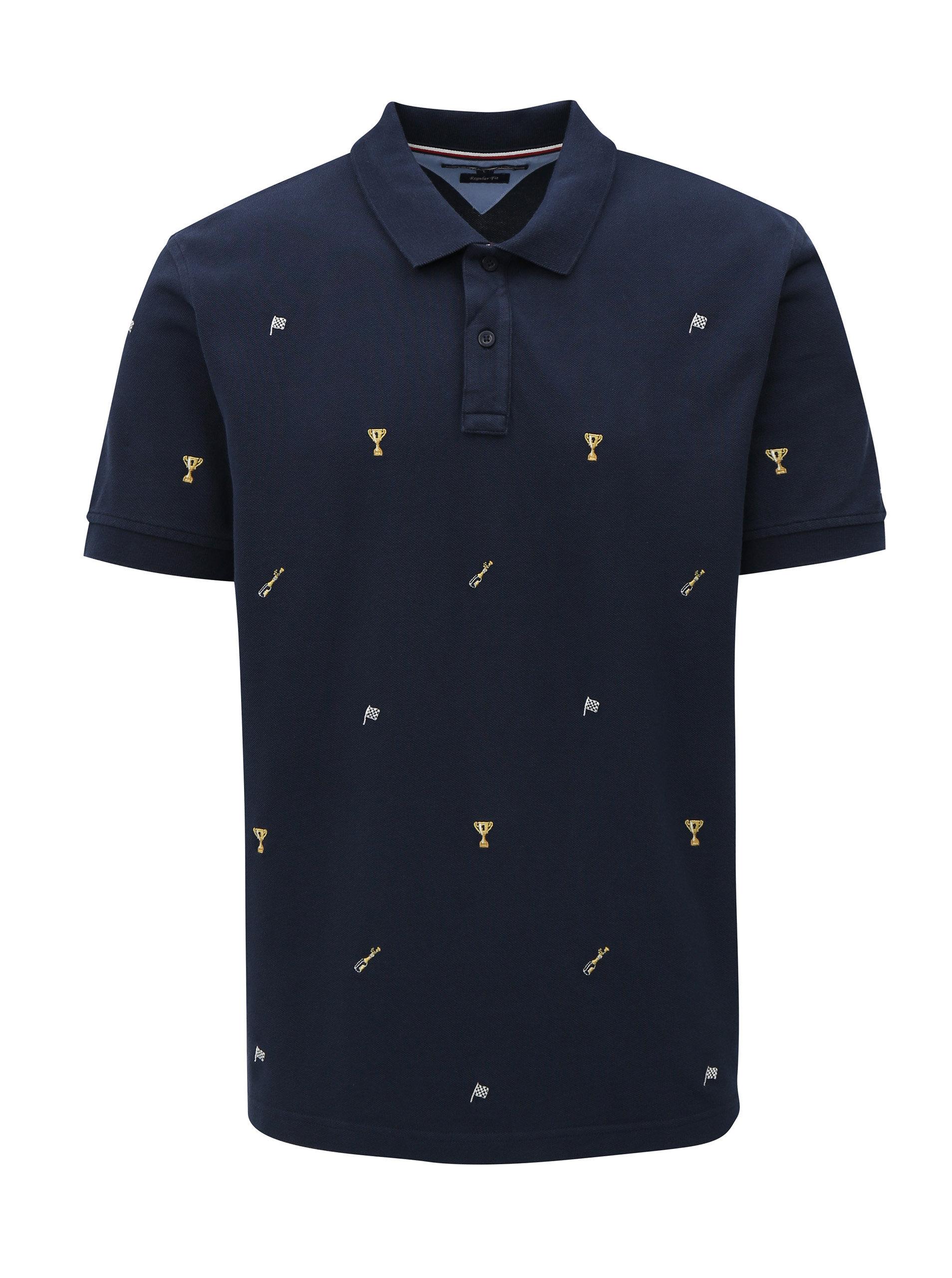 0e2e81e484 Tmavě modré pánské vzorované regular fit polo tričko Tommy Hilfiger ...