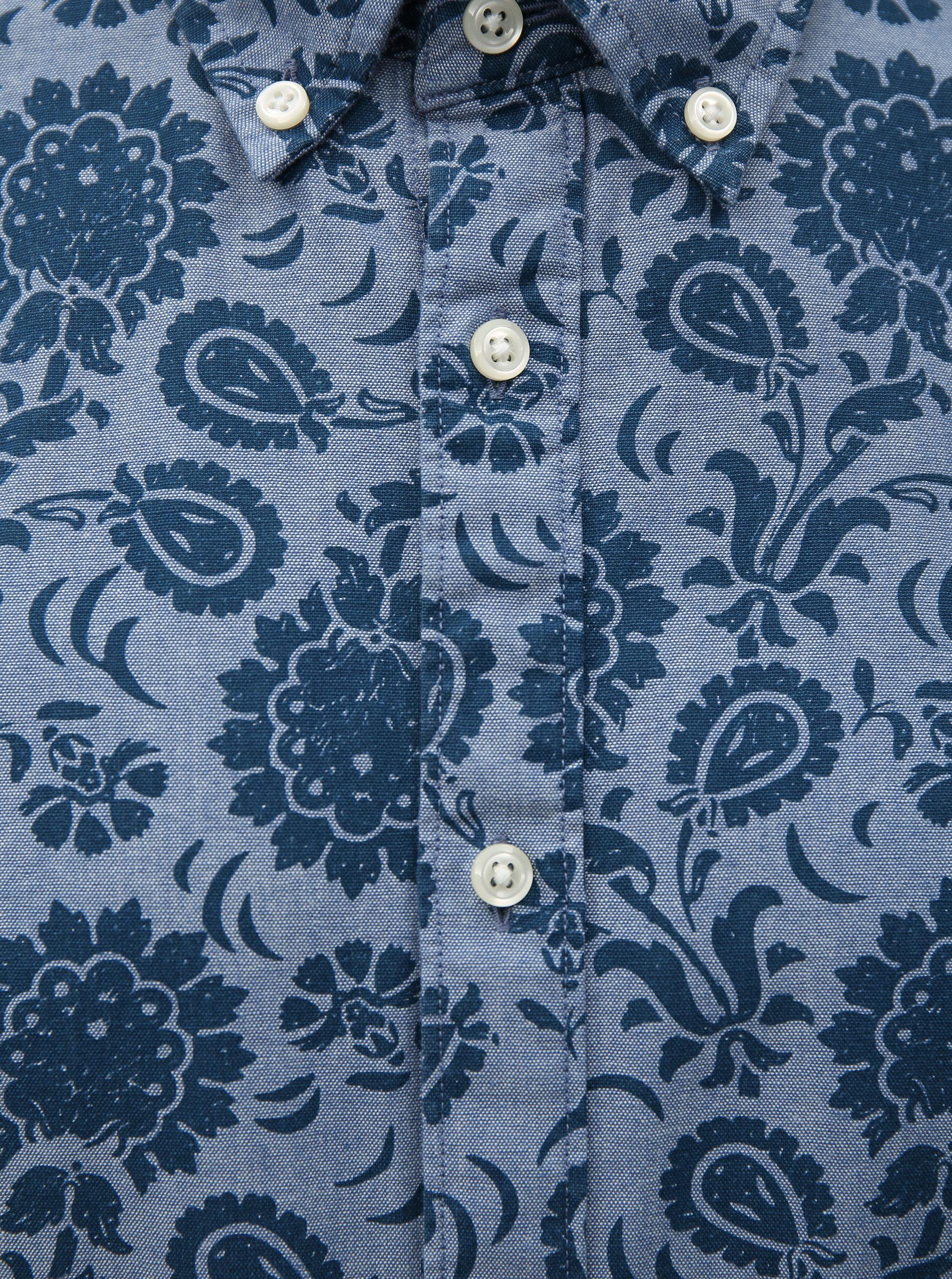 Modrá pánska vzorovaná slim fit košeľa Tommy Hilfiger ... 8bfb82d65fa