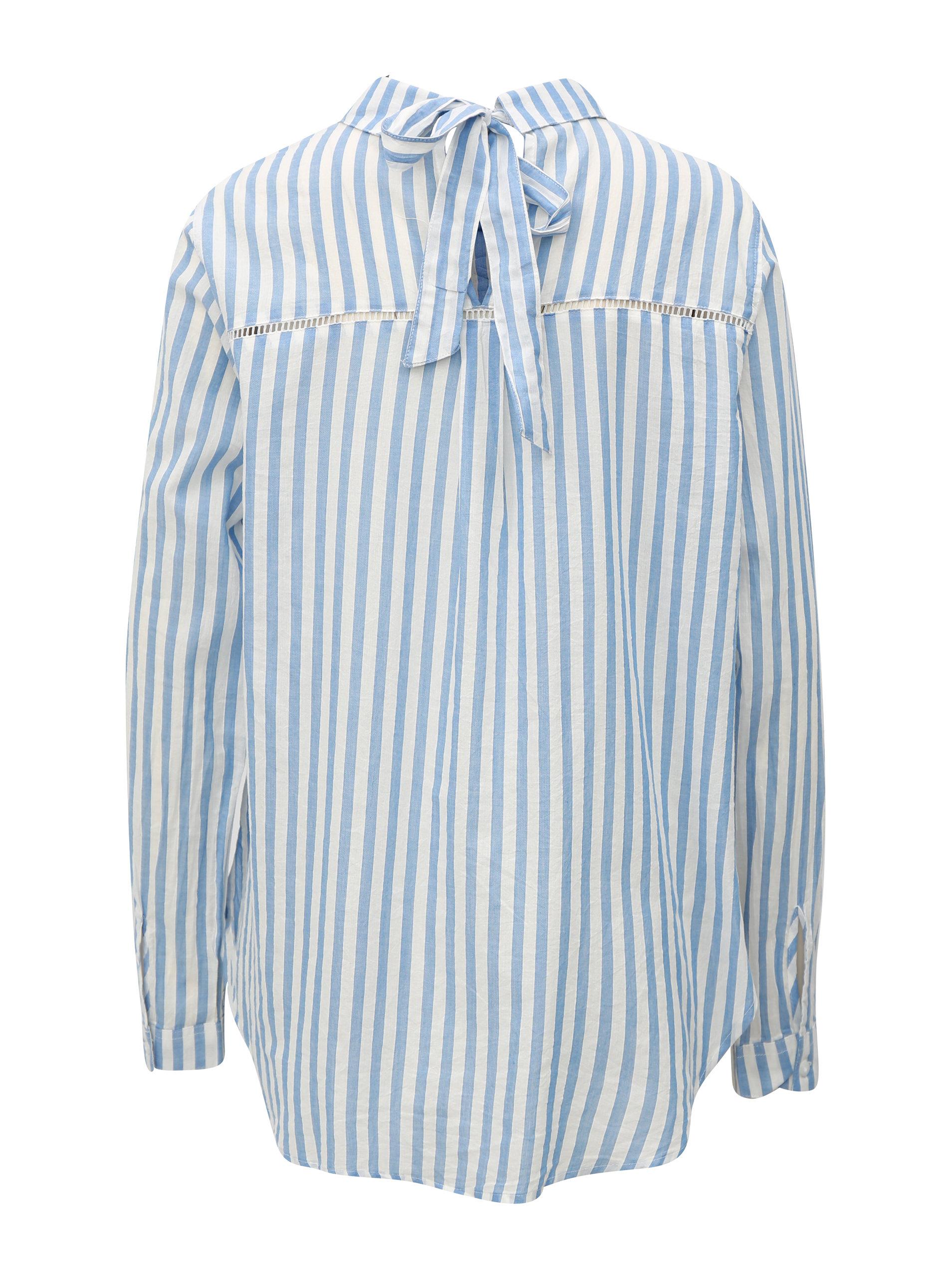 6595e28551c6 Bielo-modrá dámska košeľa s mašľou Broadway Dayna ...