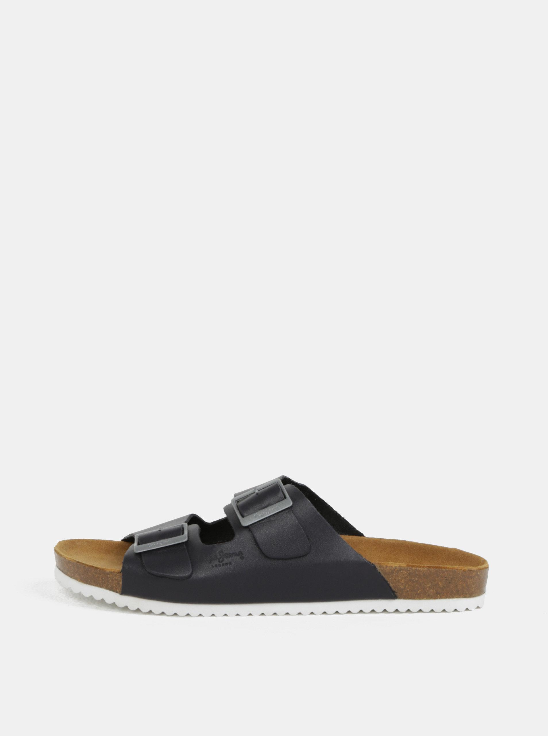 Tmavě modré pánské kožené pantofle Pepe Jeans Bio basic