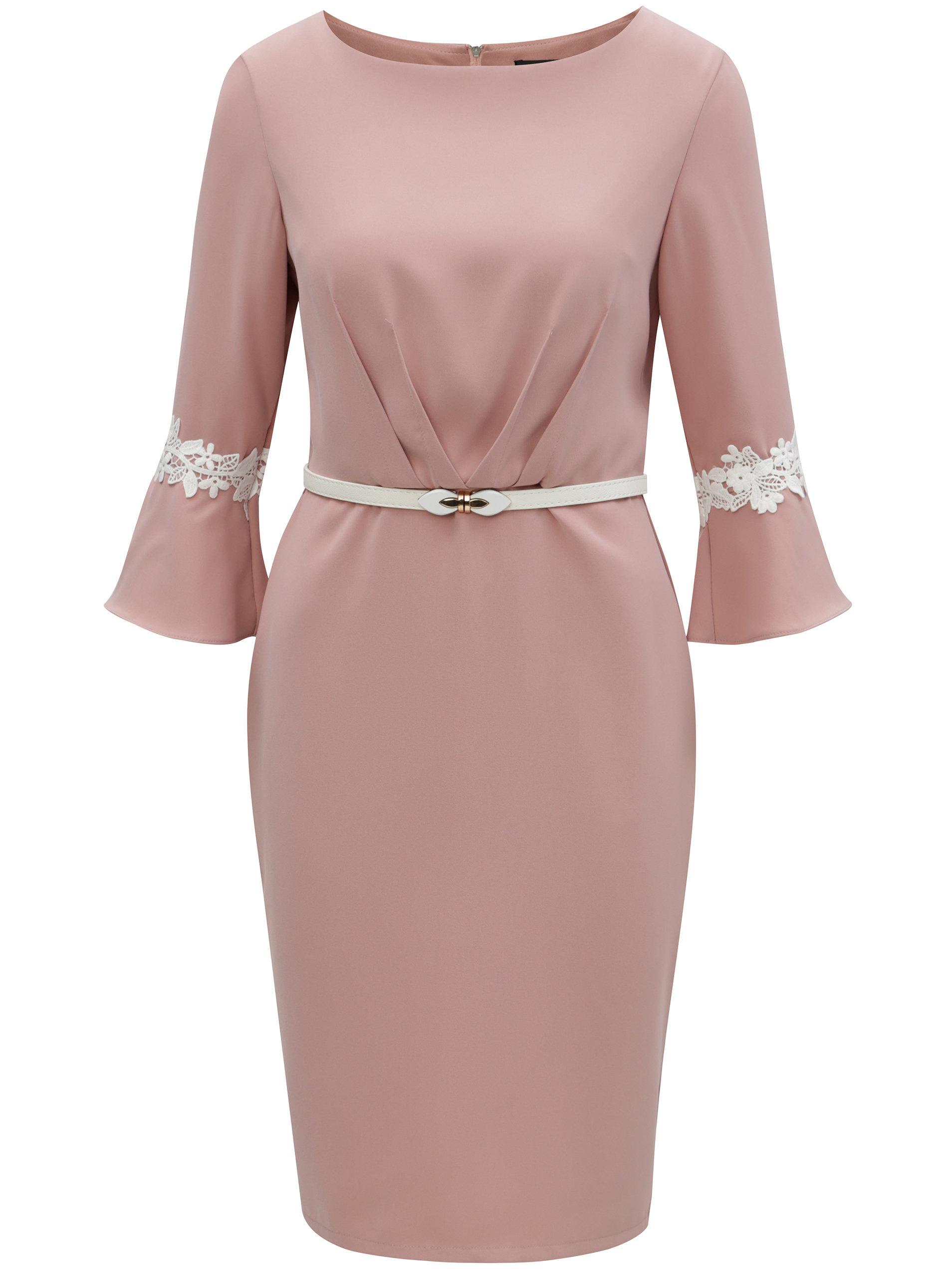 Ružové puzdrové šaty s opaskom Paper Dolls ... e5faa9ad629