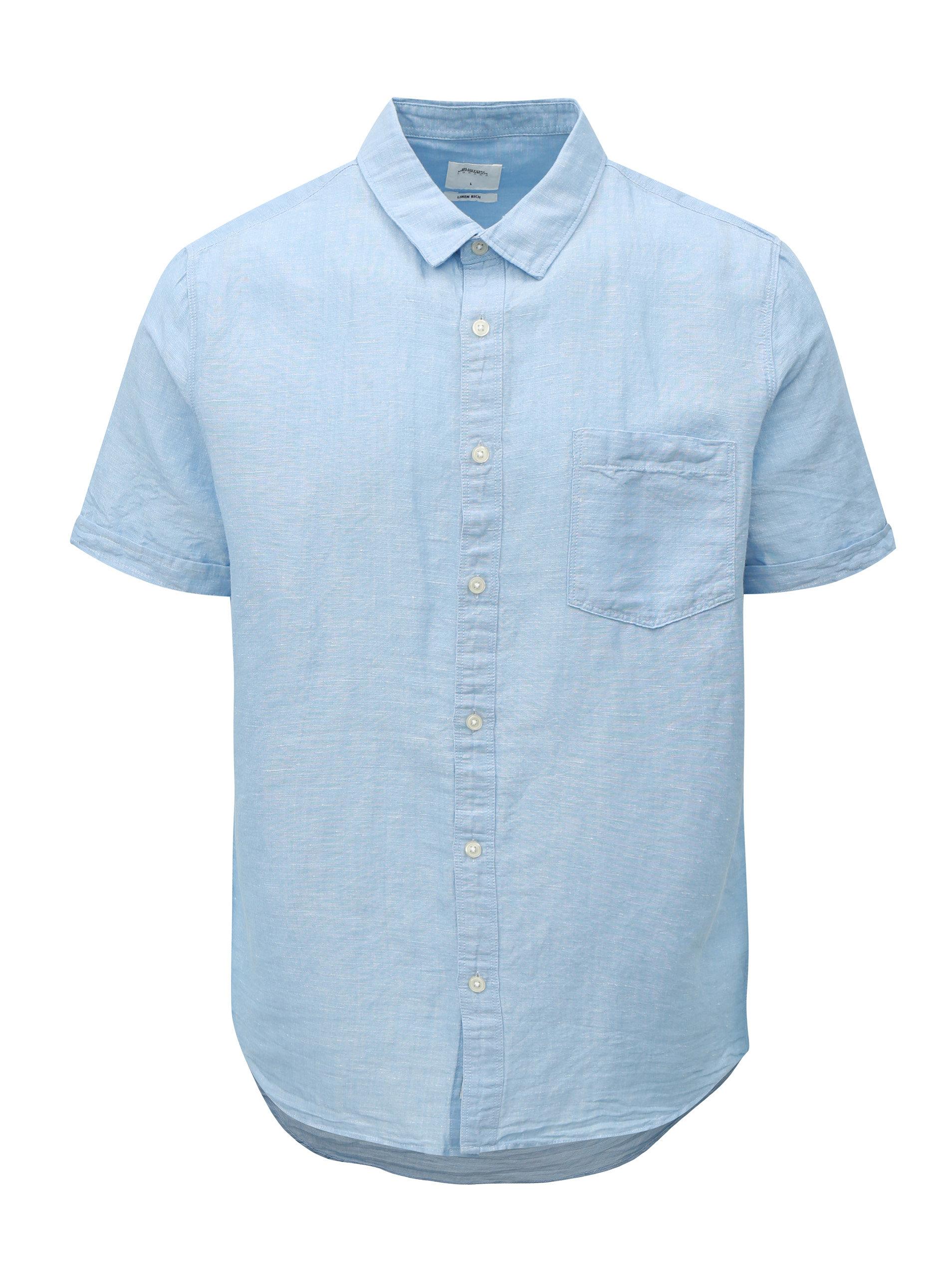 Světle modrá lněná košile s krátkým rukávem Burton Menswear London