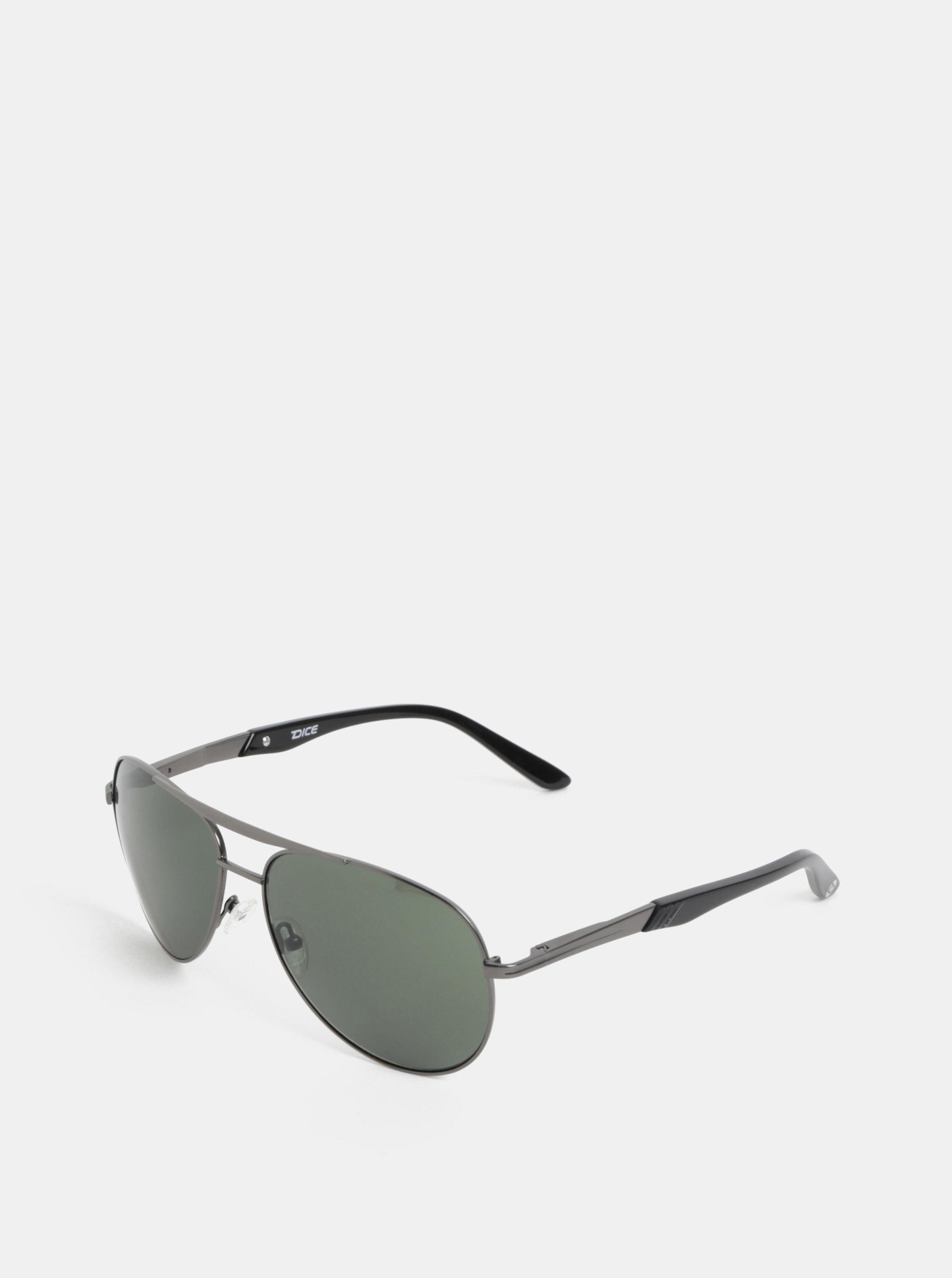 Zeleno-šedé pánské sluneční brýle Dice