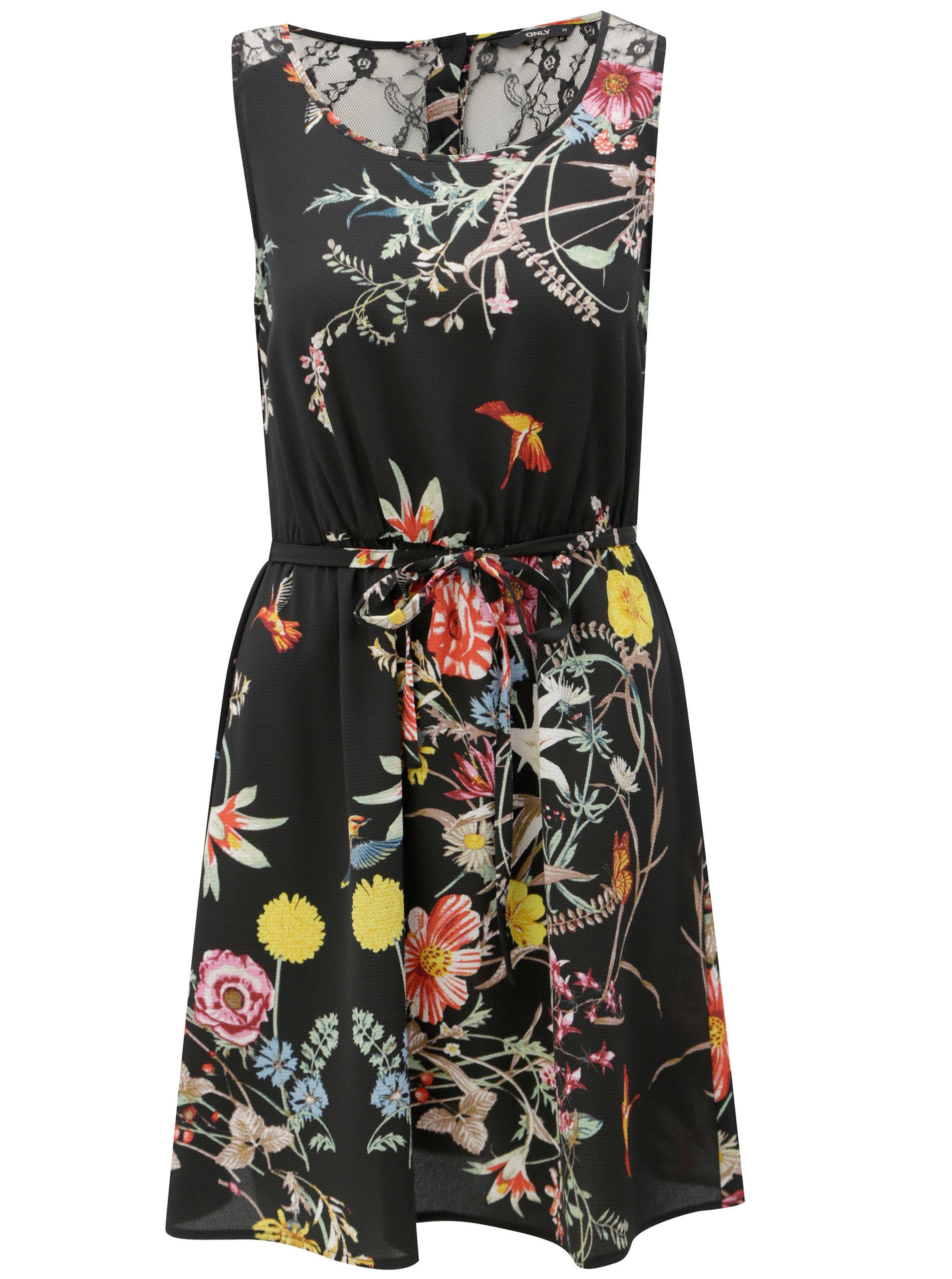 039c3e9afb3d Černé květované šaty s krajkou na zádech ONLY Juliet ...