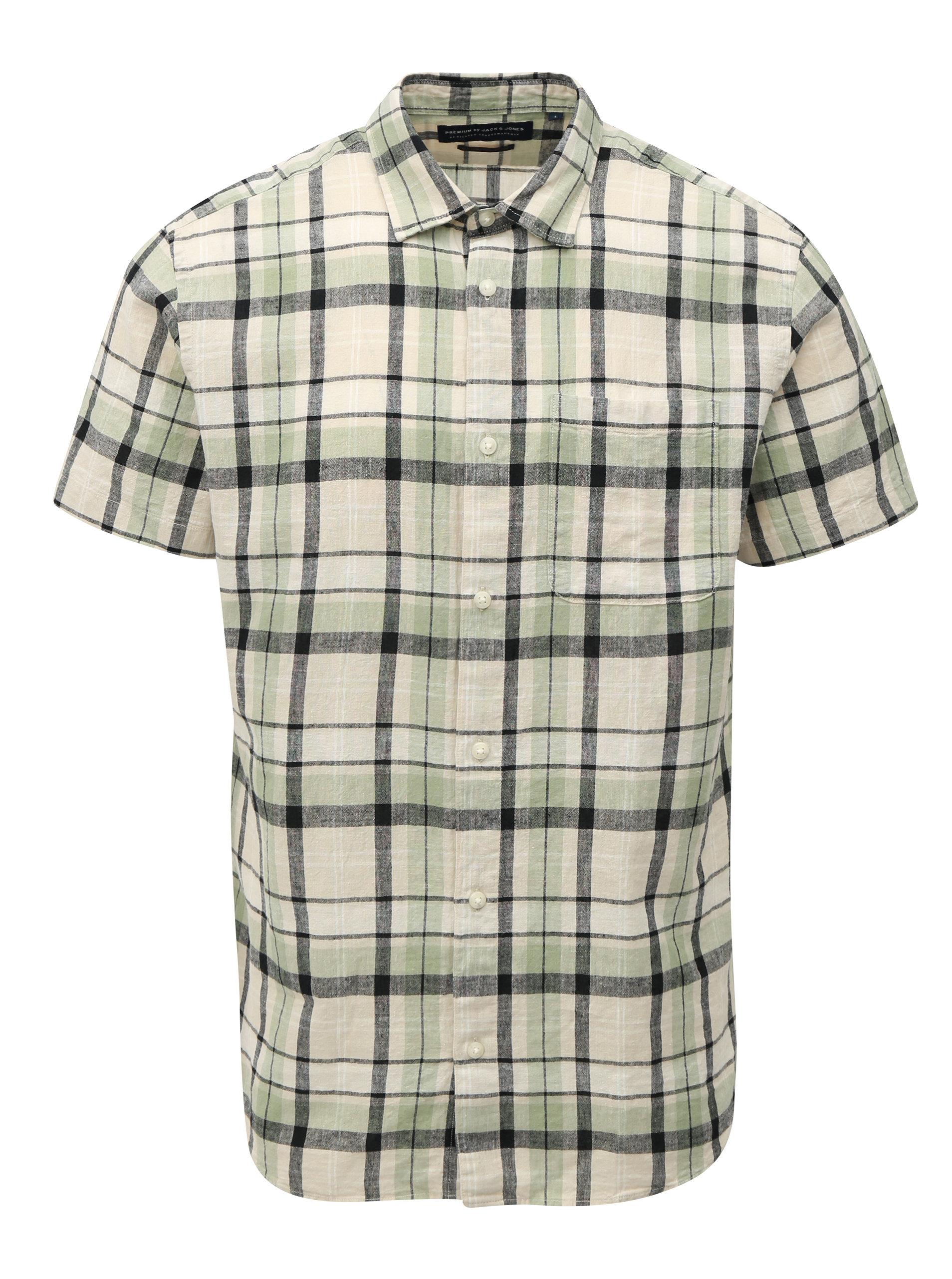 f64a7e66539 Zeleno-krémová lněná košile Jack   Jones
