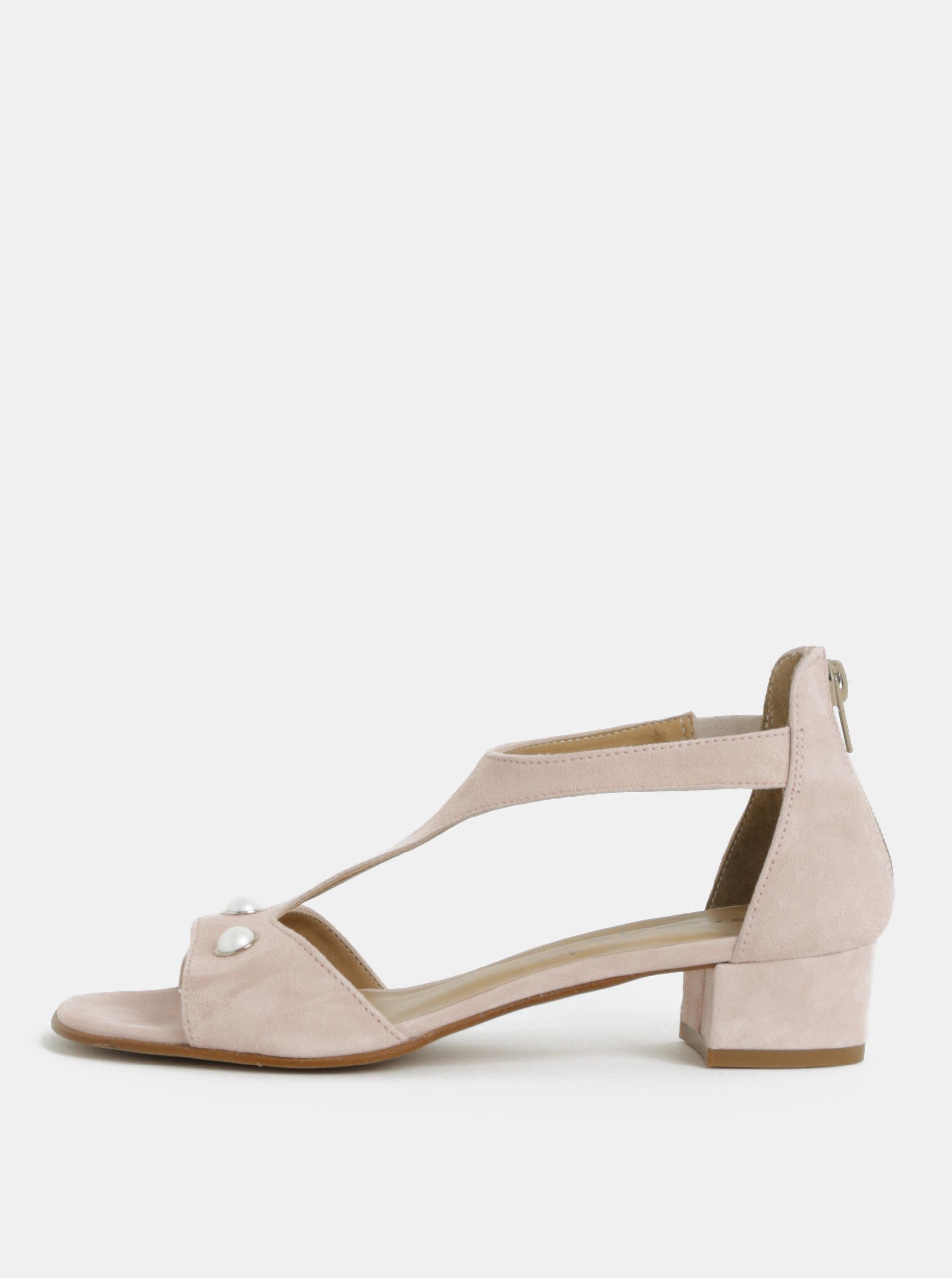 Světle růžové semišové sandály na nízkém podpatku Tamaris