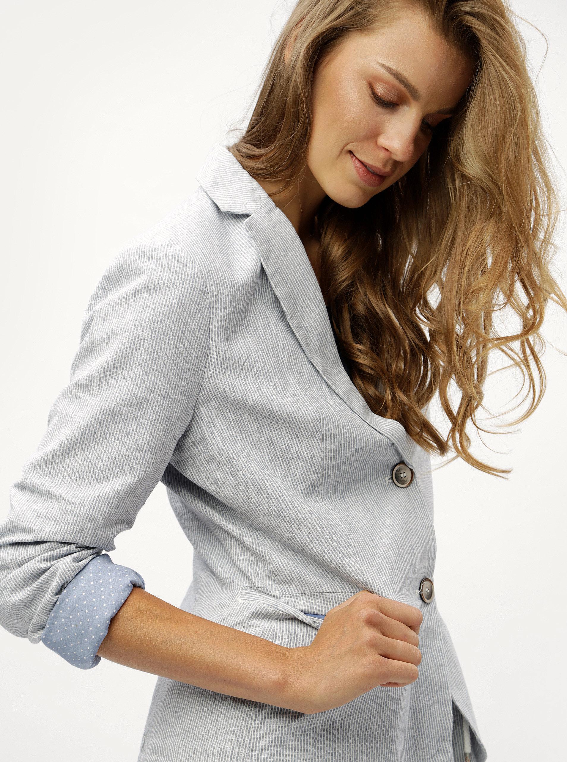 Modré pruhované lněné dámské sako s.Oliver  48a00b7bc1