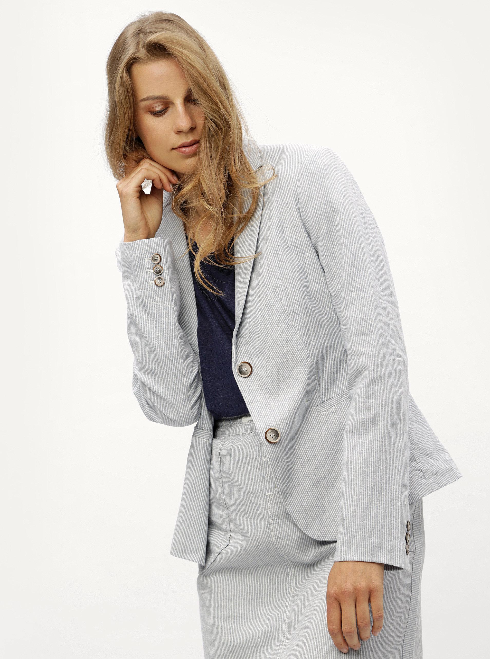Modré pruhované lněné dámské sako s.Oliver