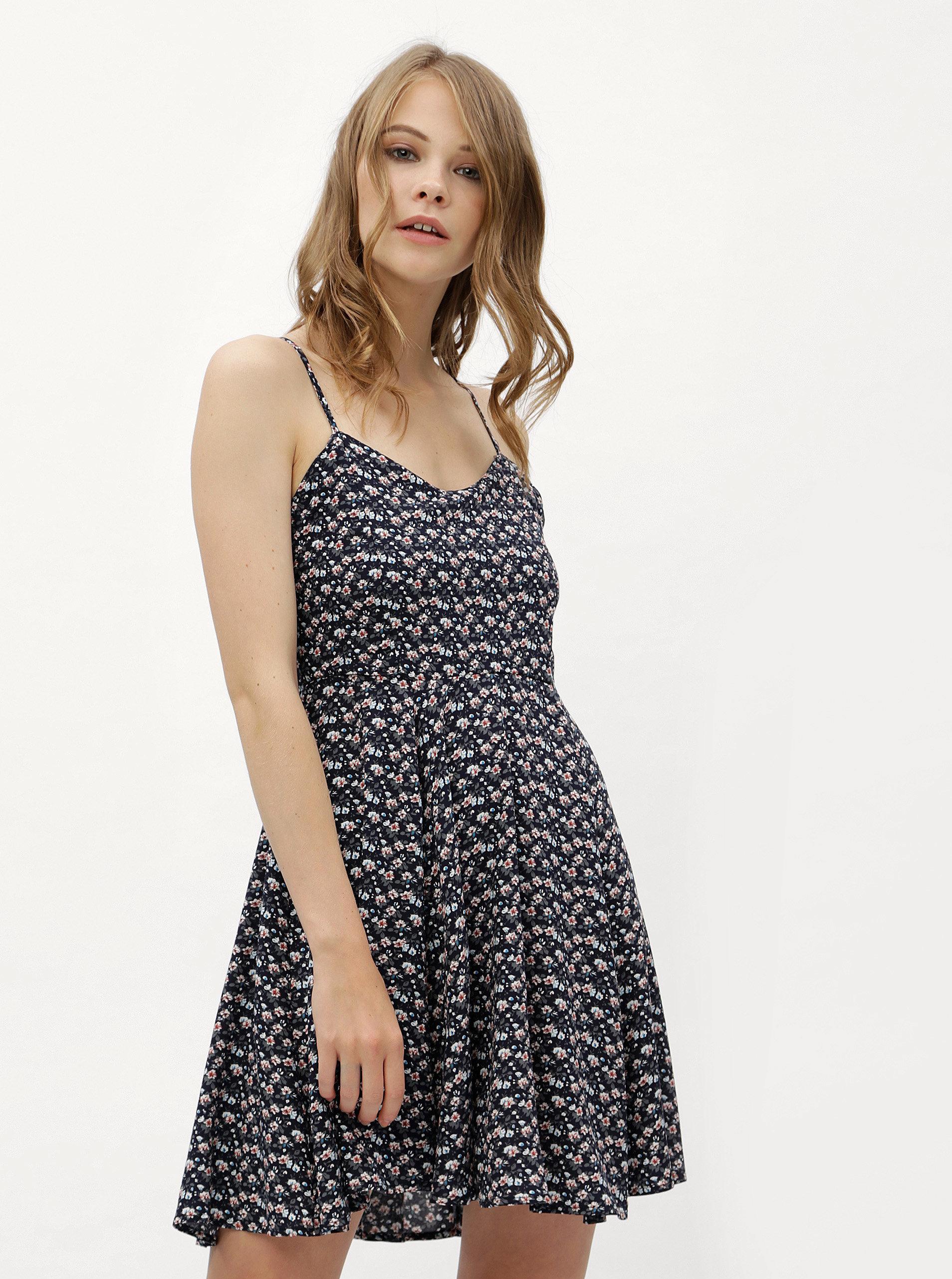 Tmavomodré kvetované šaty s viazaním na chrbte Haily´s Victoria ... 84d8412bb5c