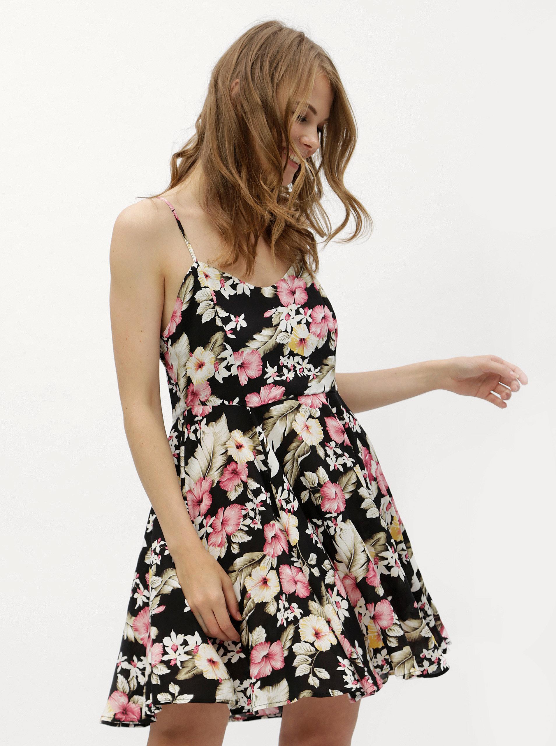 Bielo–čierne kvetované šaty s viazaním na chrbte Haily´s Victoria ... ea0b67b929b