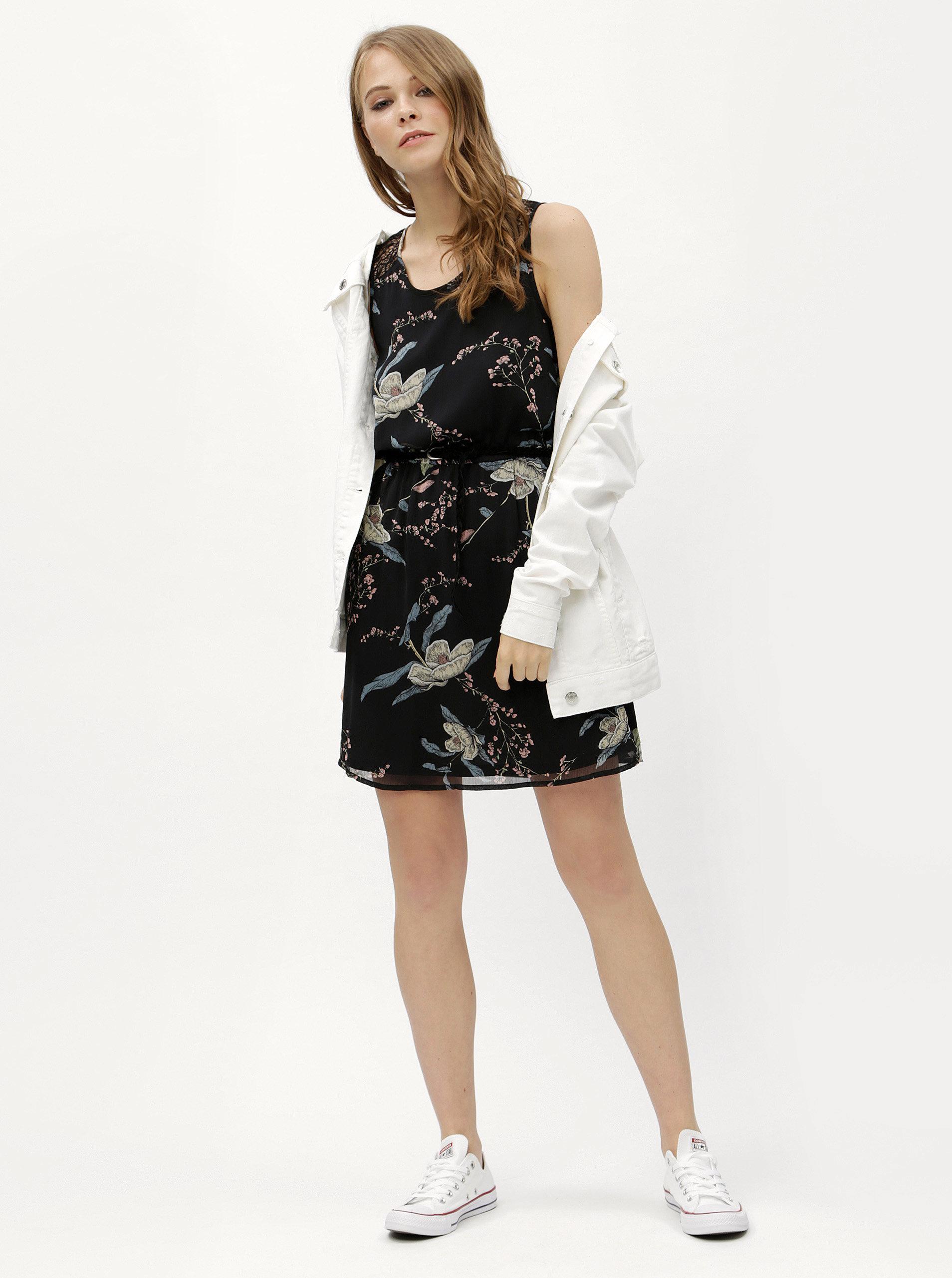 Čierne kvetované šaty s čipkou na chrbte Haily s Jana ... 6b85a39ecd6
