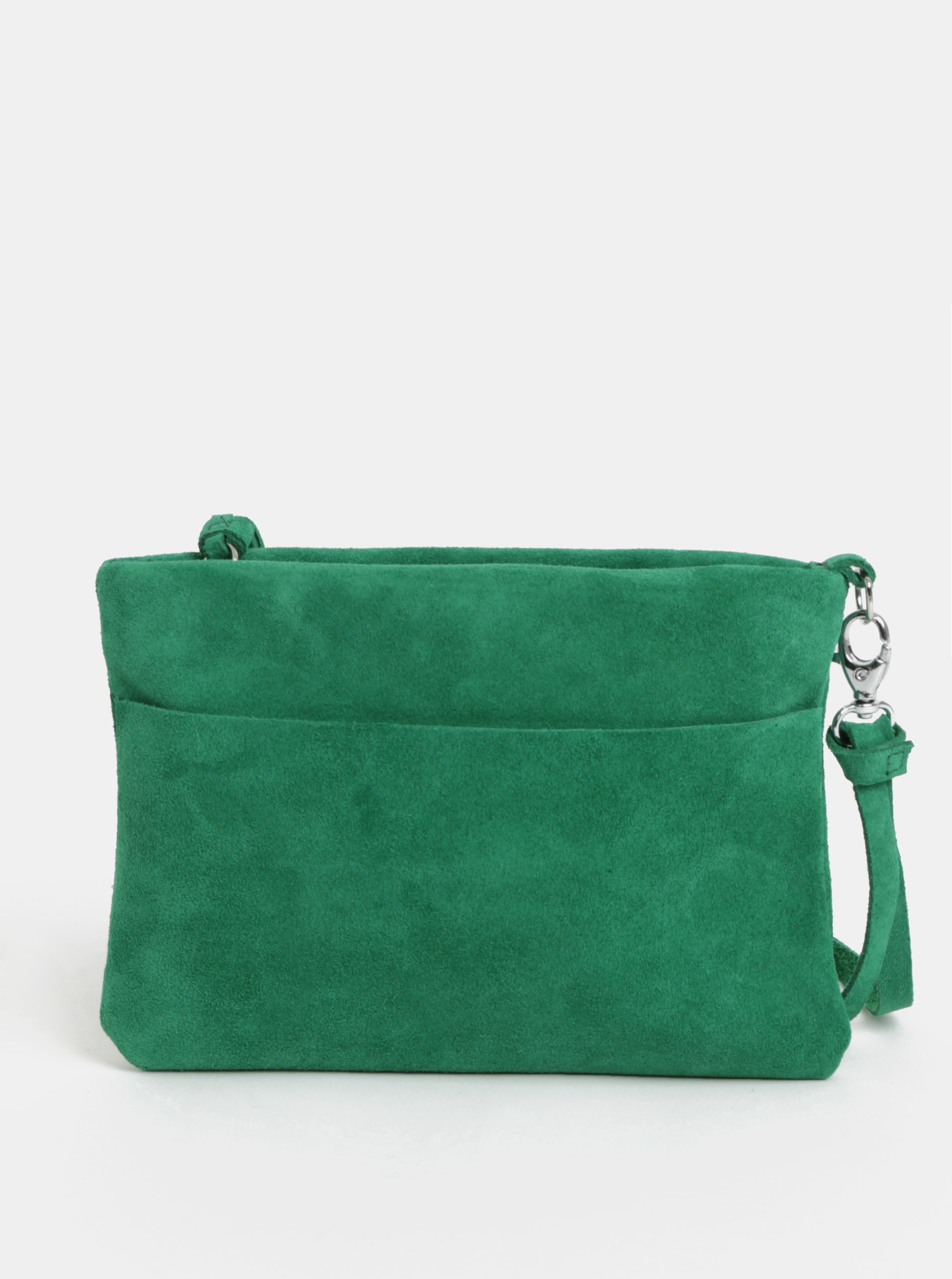 Zelená semišová listová kabelka so strapcom KOZAK Mia ... 1107d8228ca