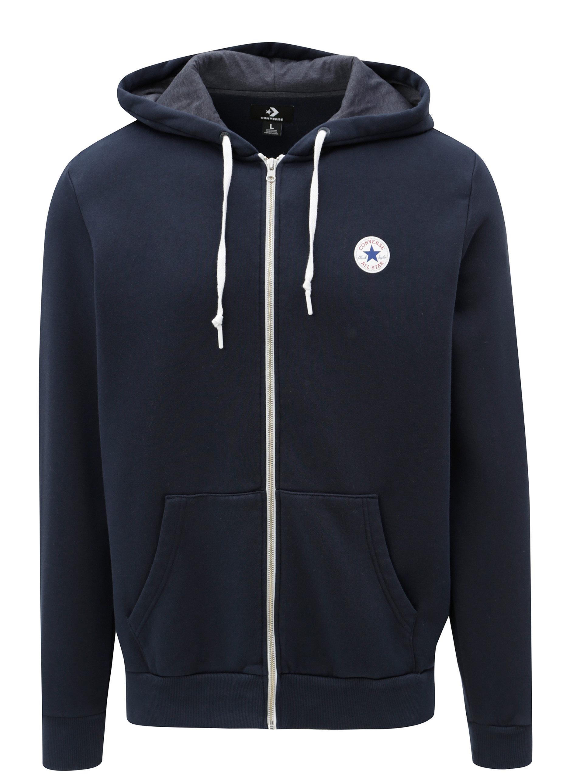Modrá pánska mikina s kapucňou Converse Core Full-Zip Hoodie ... 41675632483