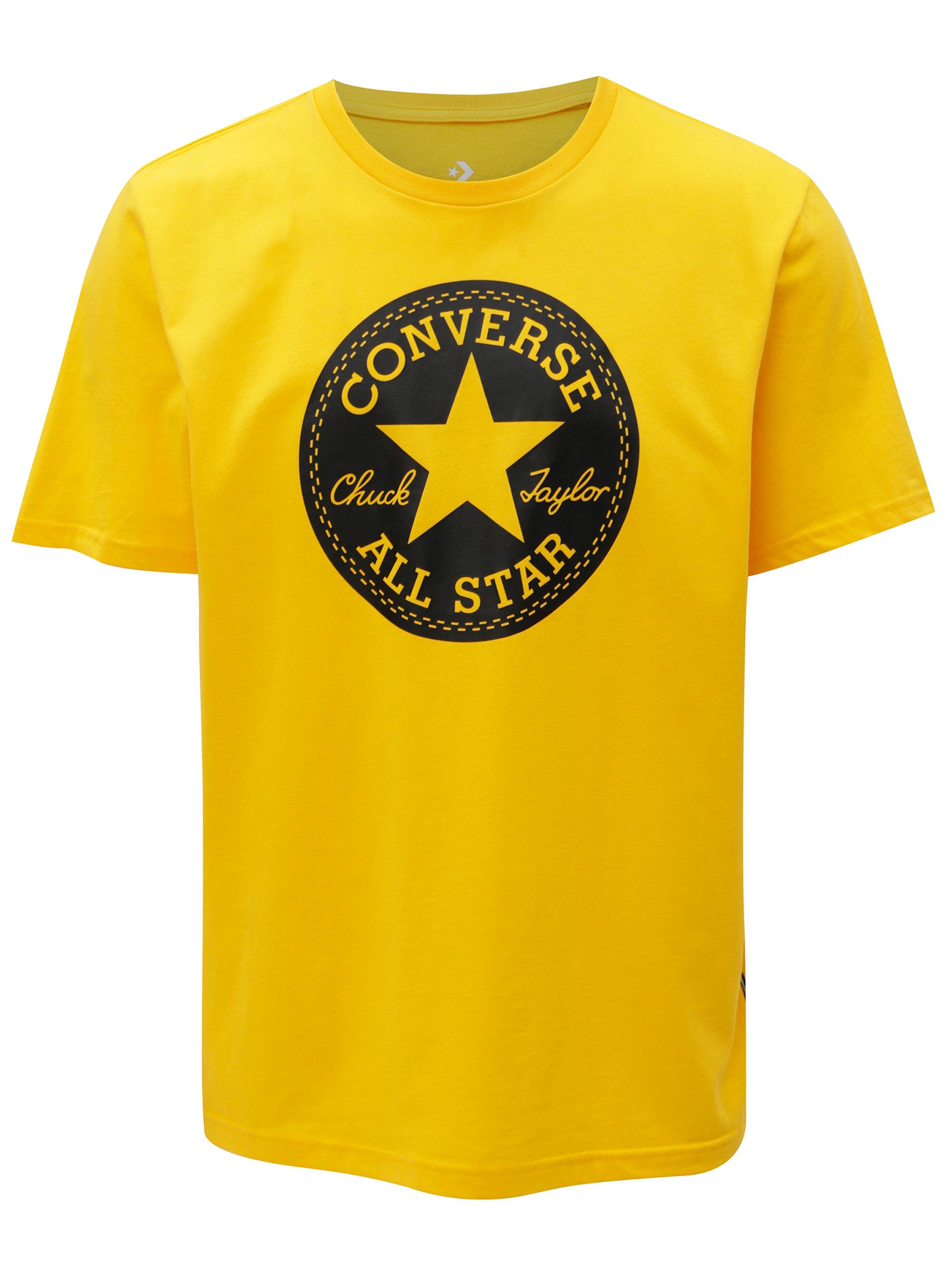Žlté pánske tričko s potlačou Converse Chuck Patch ... 082f6e345a5