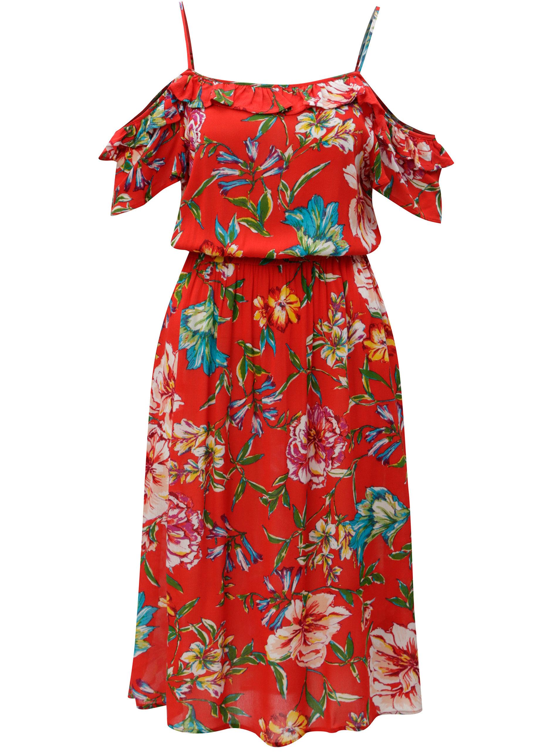 9cdf13e2d557 Červené kvetované šaty s odhalenými ramenami Dorothy Perkins ...