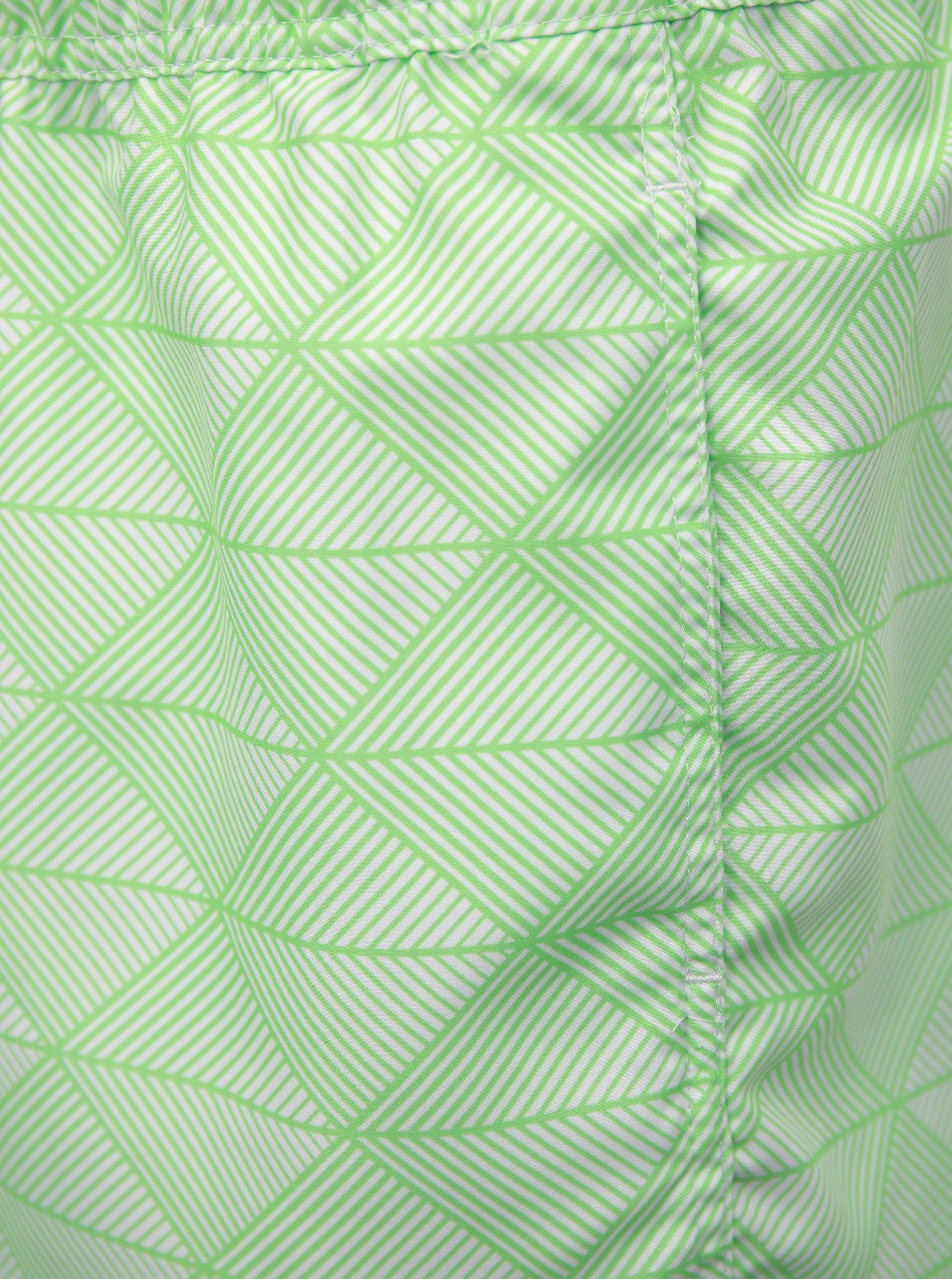 7a8e90a1eb Krémovo-zelené vzorované pánske plavky Quiksilver ...