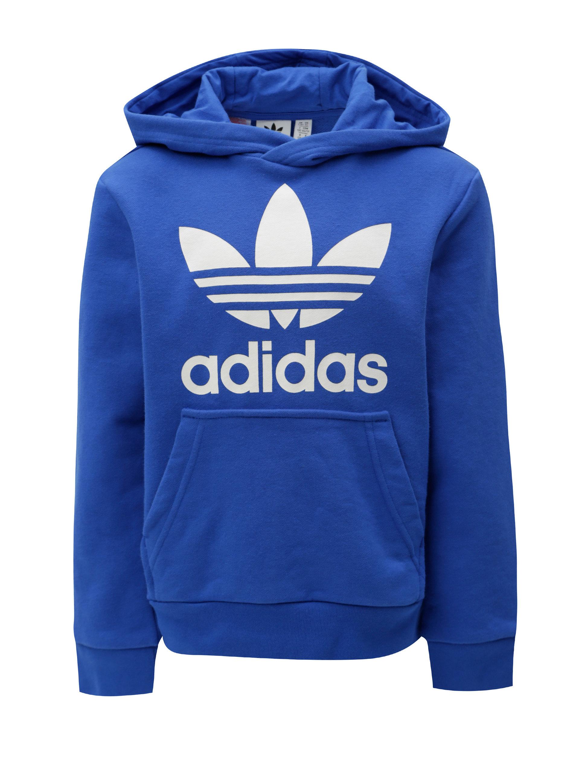 116d4e60614 Modrá dětská mikina s kapucí a klokaní kapsou adidas Originals Trefoil ...