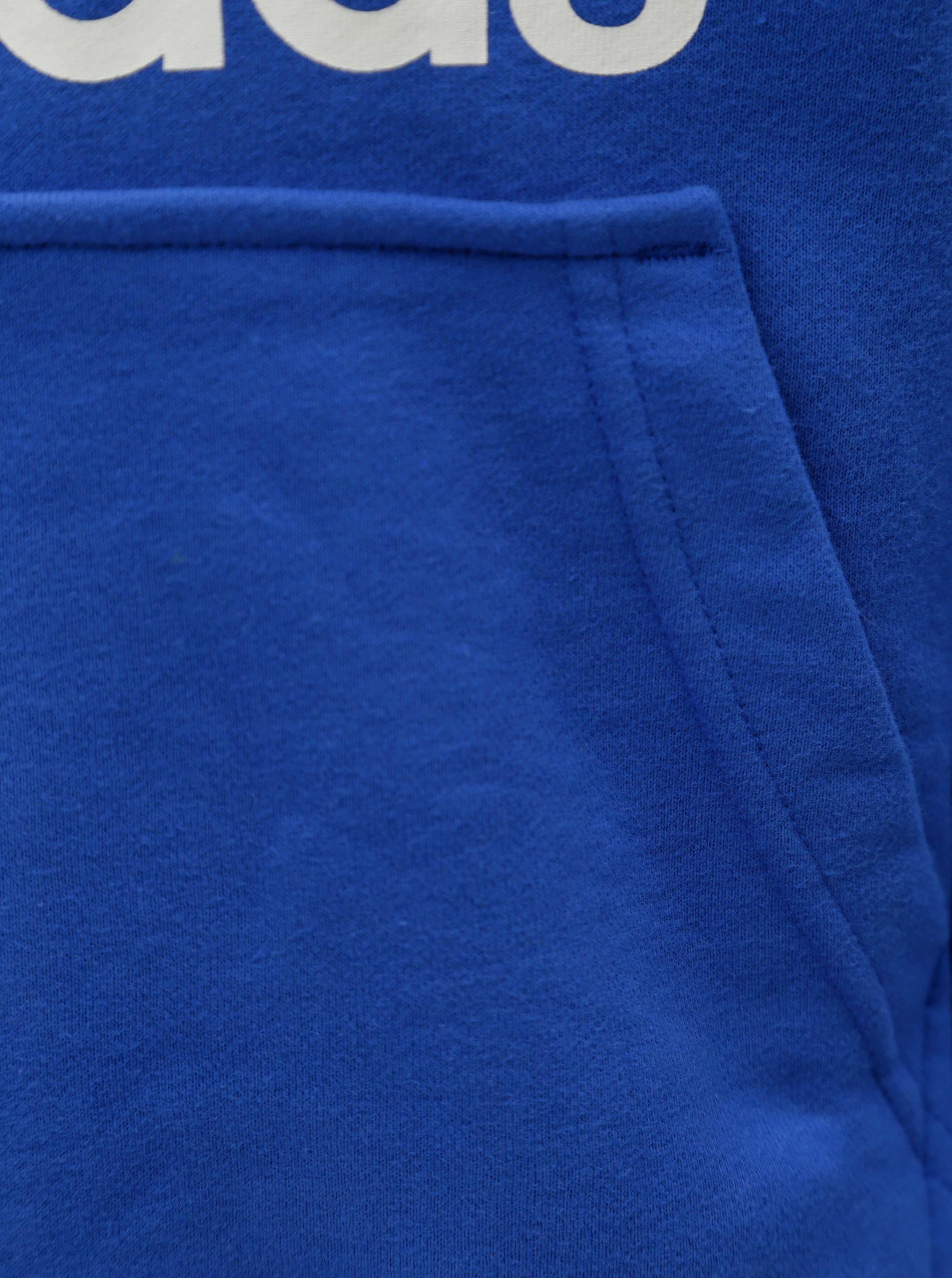 710aacf43b Modrá dětská mikina s kapucňou a klokaním vreckom adidas Originals Trefoil  ...