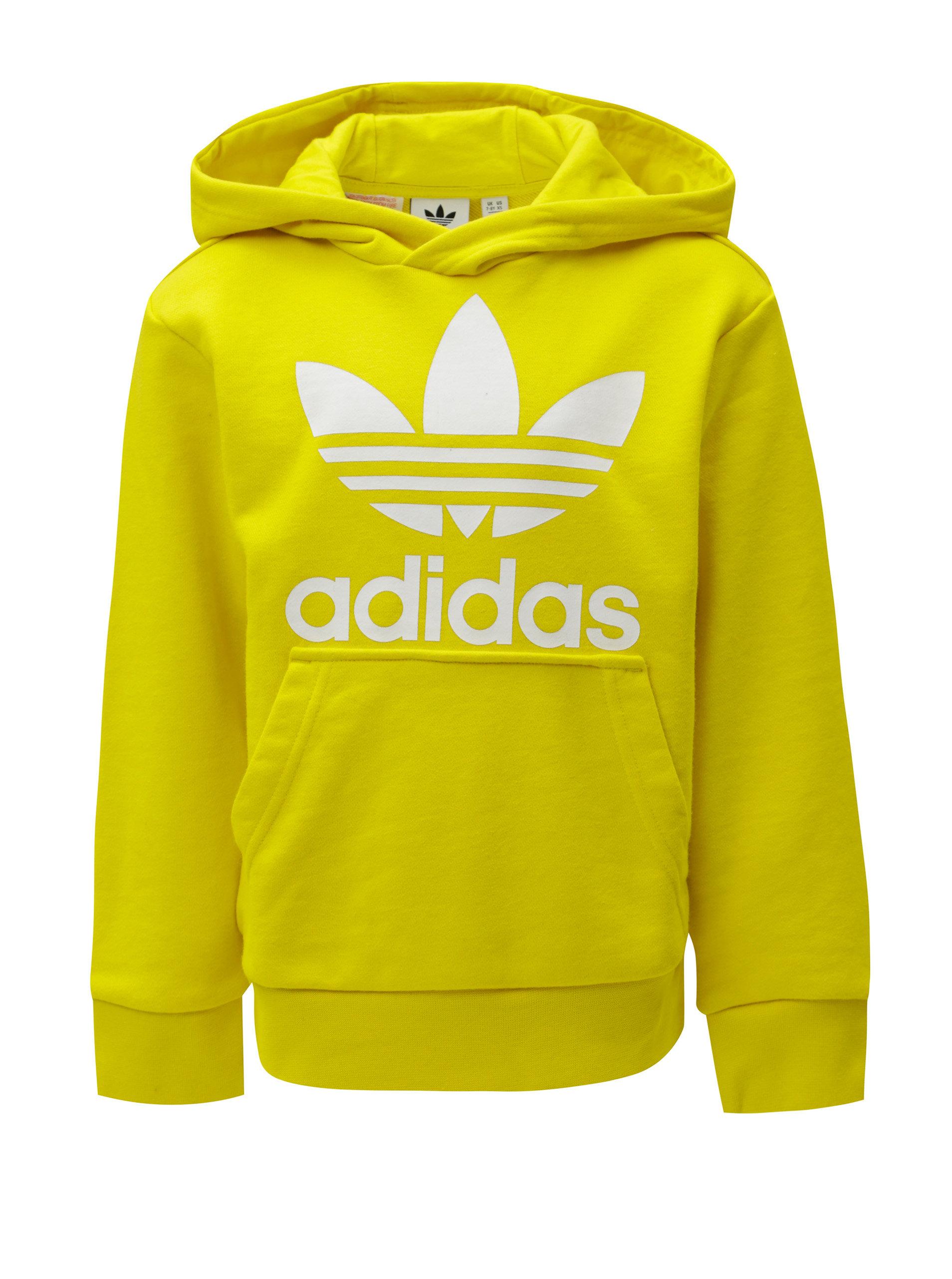 Žltá dětská mikina s kapucňou a klokaním vreckom adidas Originals Trefoil  ... f4920312ba8