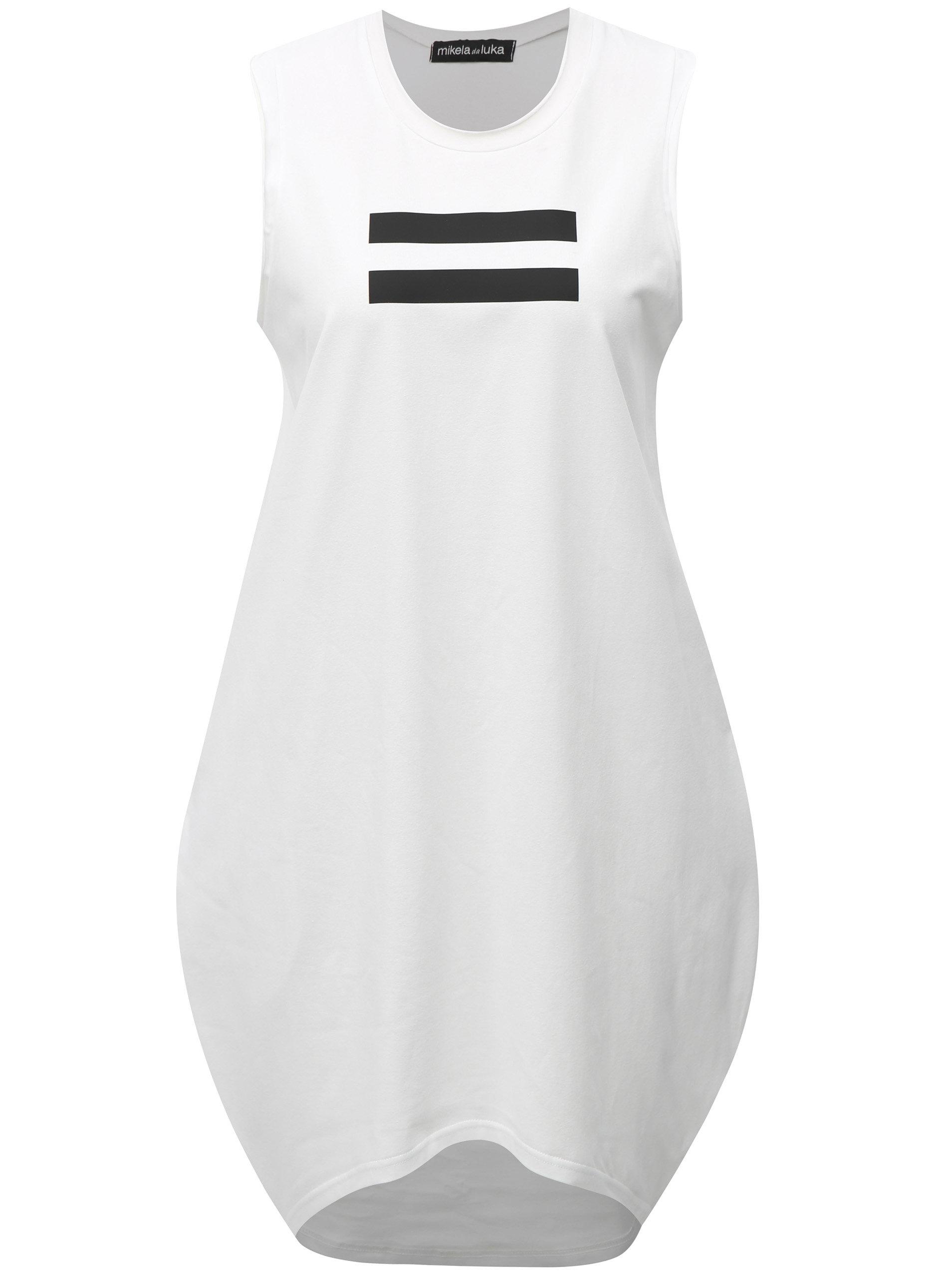 3439d2e69489 Bílé balónové šaty s černým potiskem Mikela da Luka ...