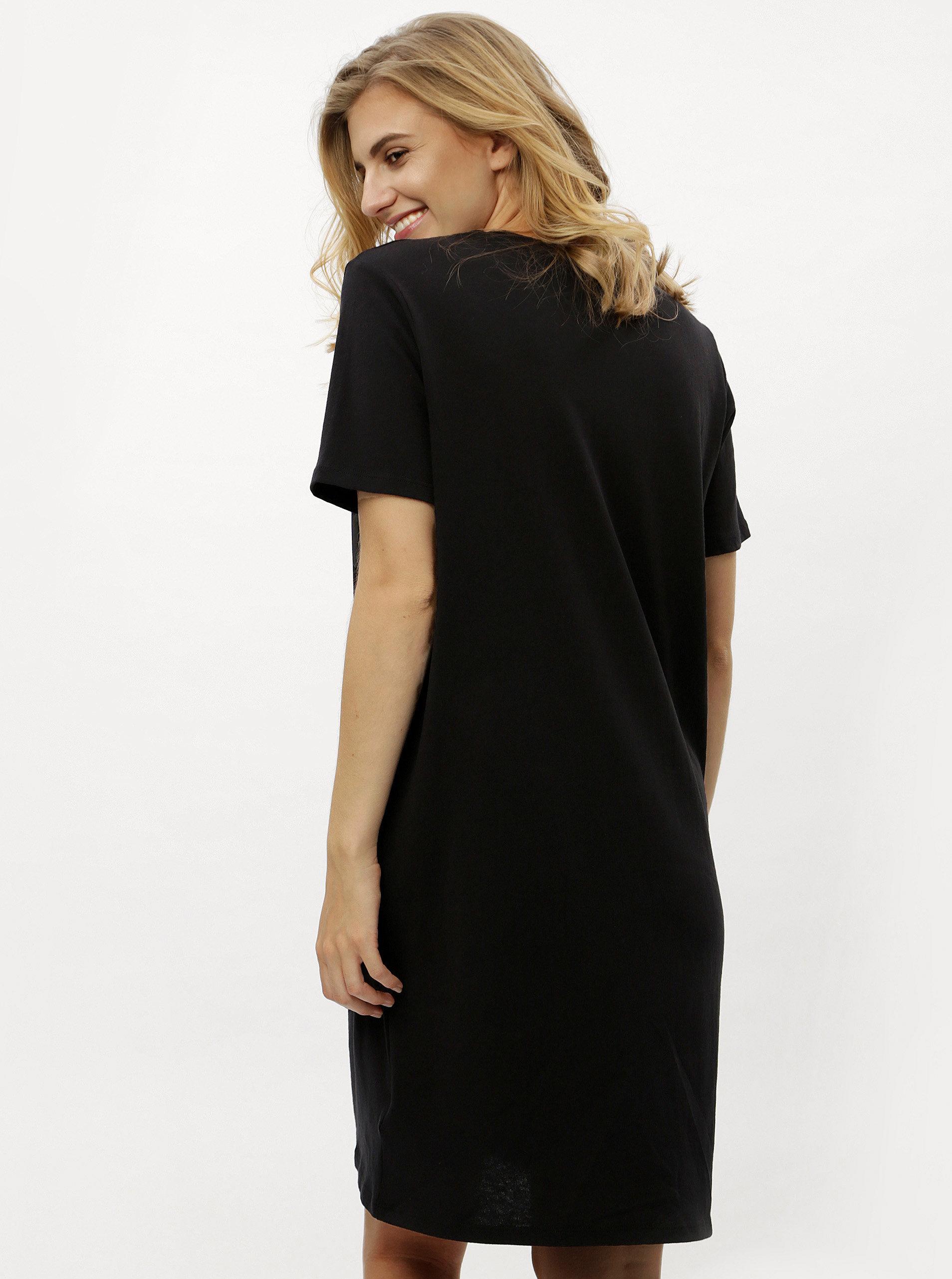 Černé tričkové šaty s krátkým rukávem Calvin Klein Jeans ... 2bf59d88576