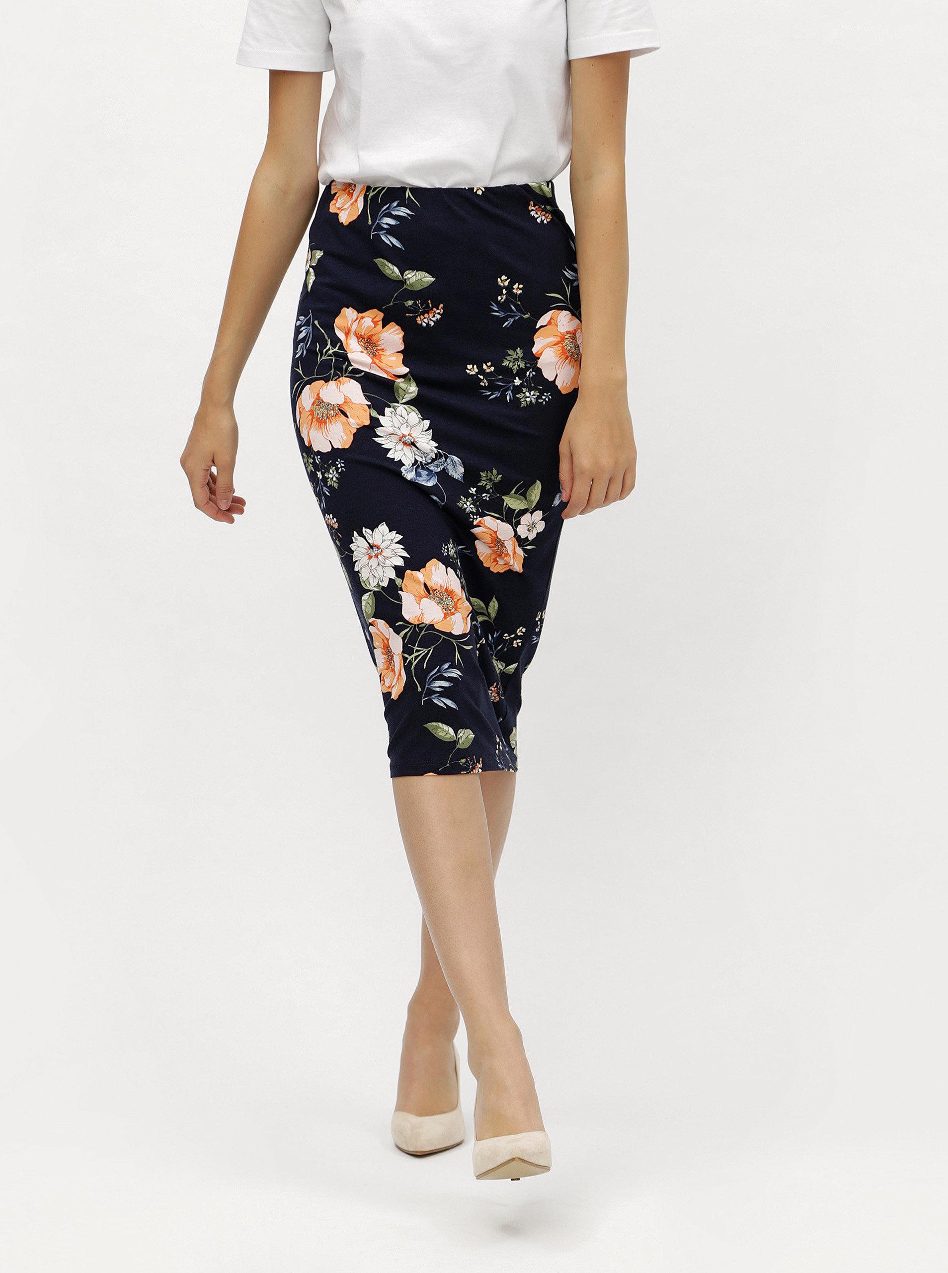 Tmavě modrá květovaná pouzdrová sukně Dorothy Perkins ... 5169c02302