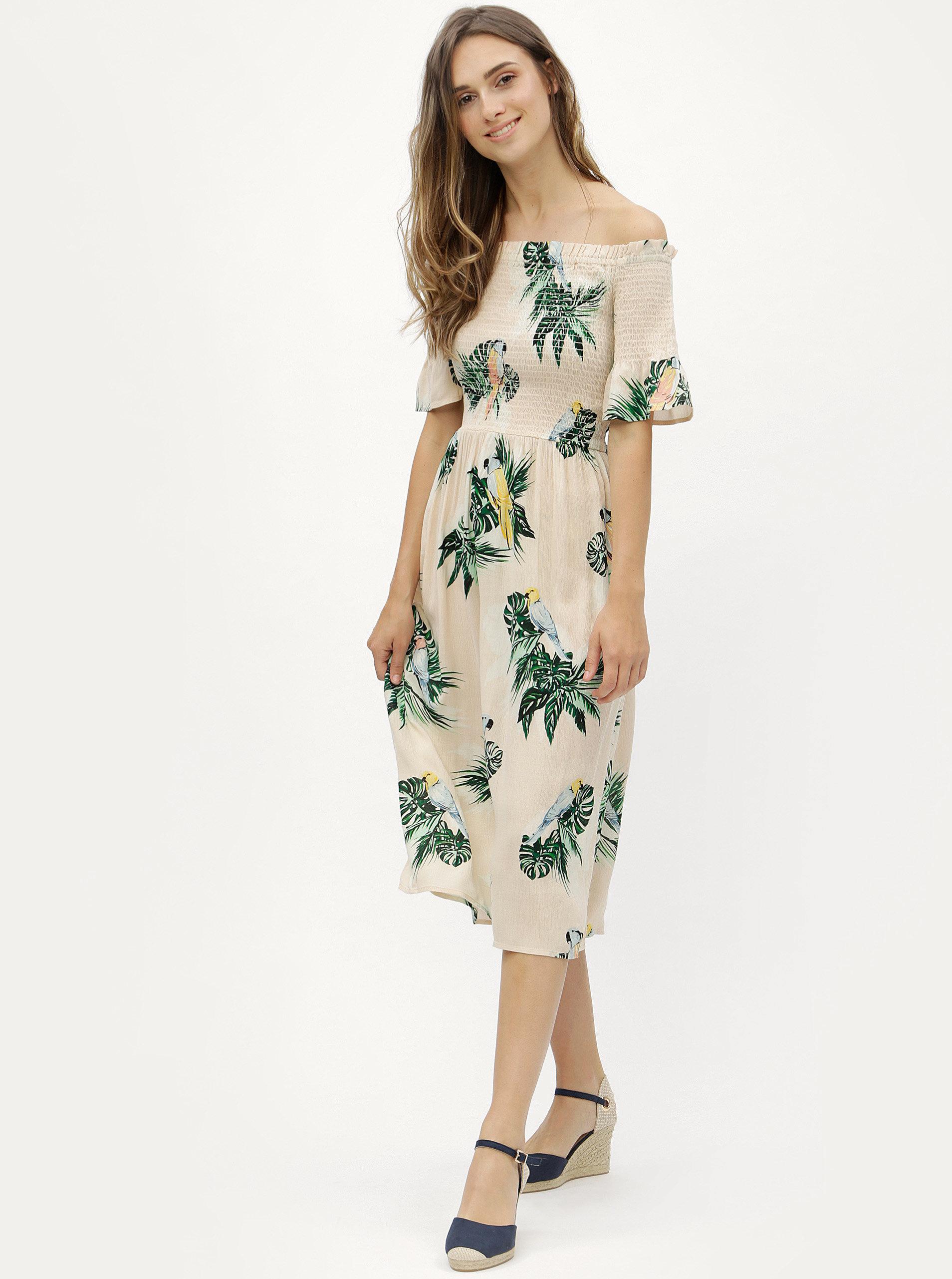 167db11d652 Béžové vzorované šaty s odhalenými rameny Dorothy Perkins ...