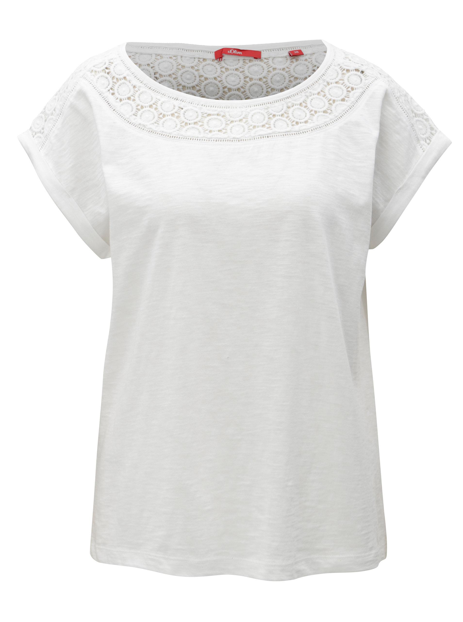 Biele dámske tričko s čipkou s.Oliver  44414c86d76