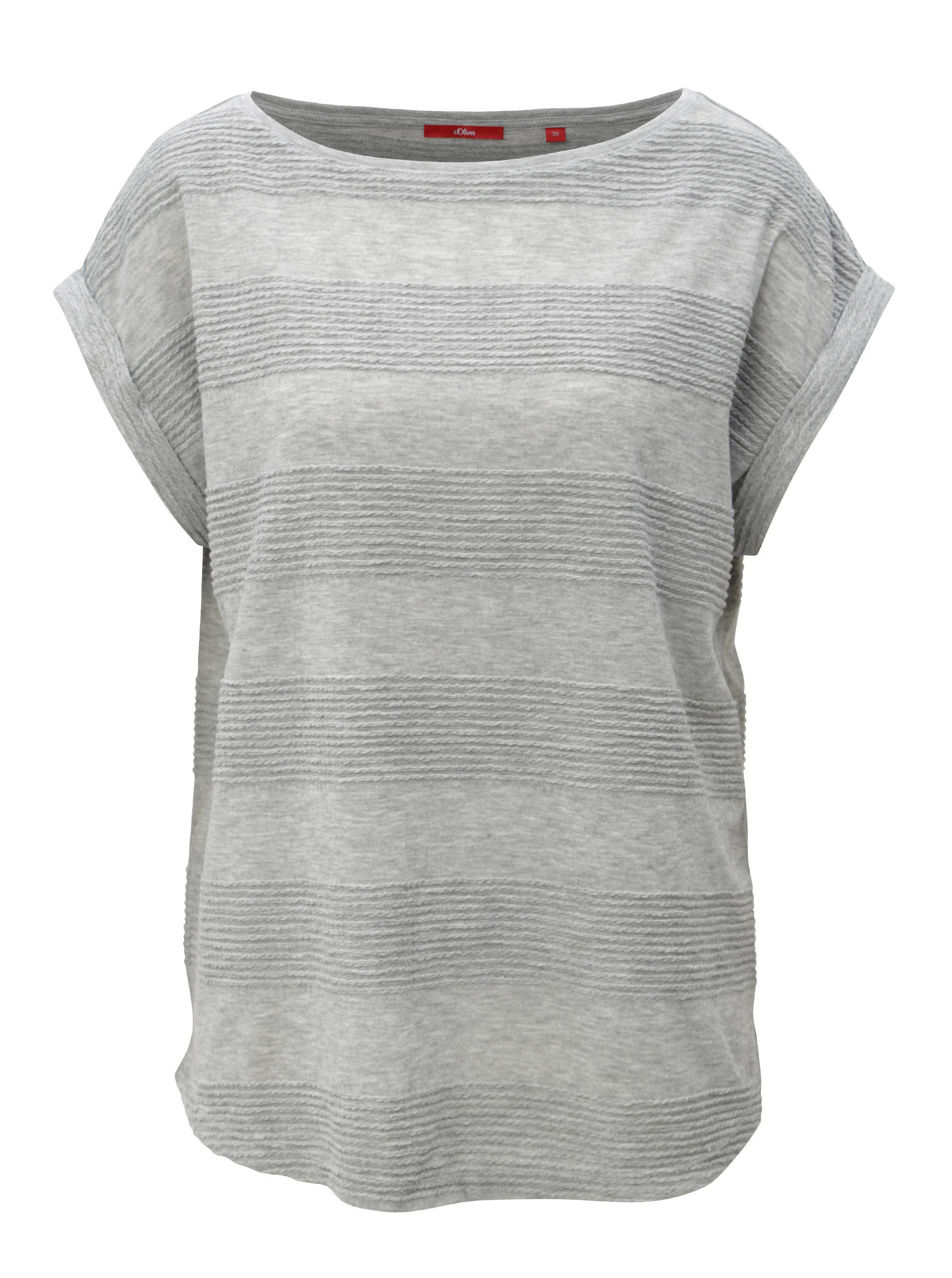 2f0a4a563f2 Sivé dámske voľné tričko s.Oliver