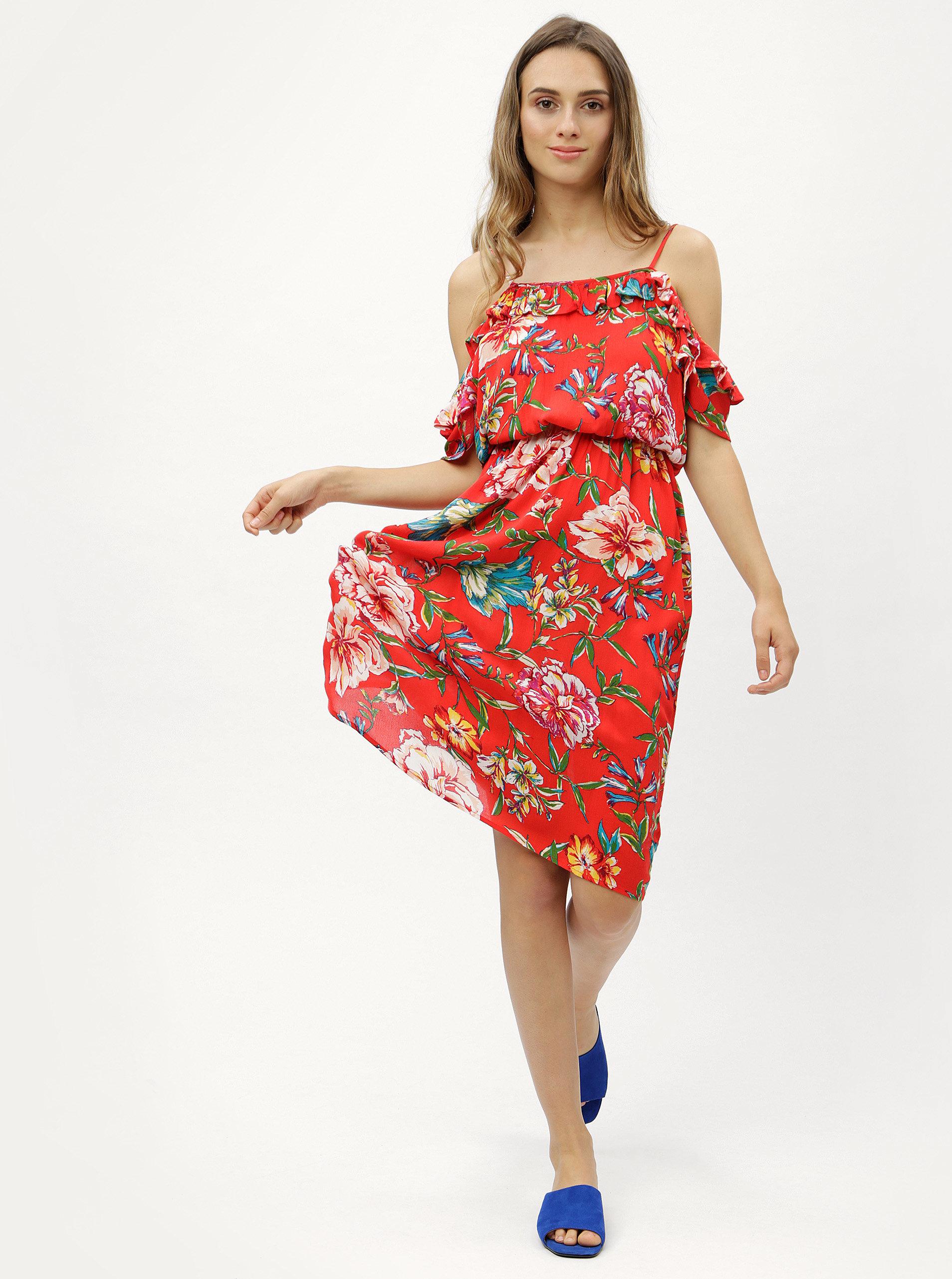 9a99fe8f5fc7 Červené kvetované šaty s odhalenými ramenami Dorothy Perkins ...