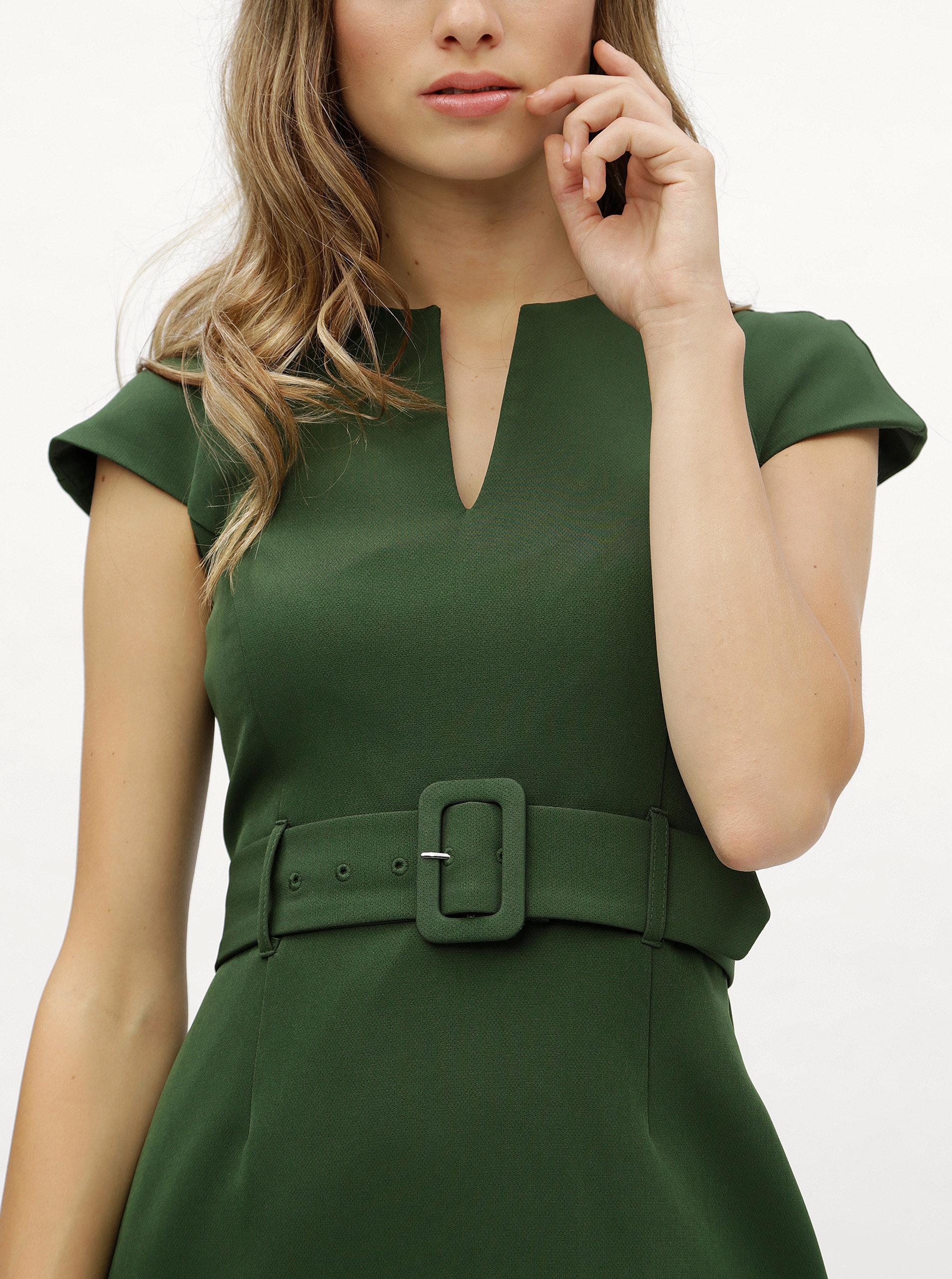 56983817731b Zelené puzdrové šaty s opaskom Dorothy Perkins ...