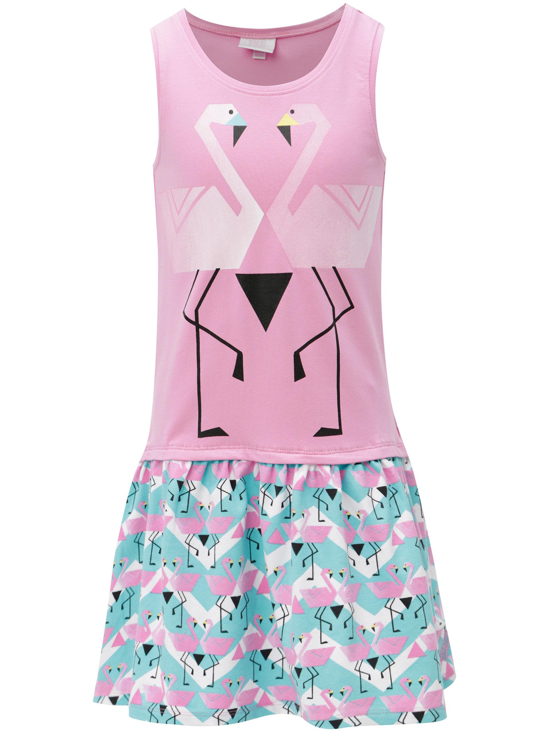 a741196f23f0 Modro-ružové dievčenské šaty s motívom plameniakov tuc tuc Combined Braces  ...