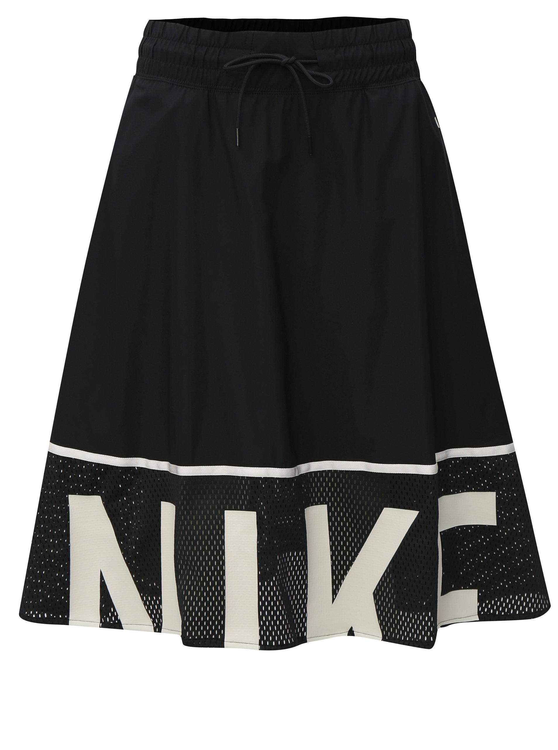 Bílo-černá sukně s elastickým pasem Nike Mesh ... d9cd13a1b4