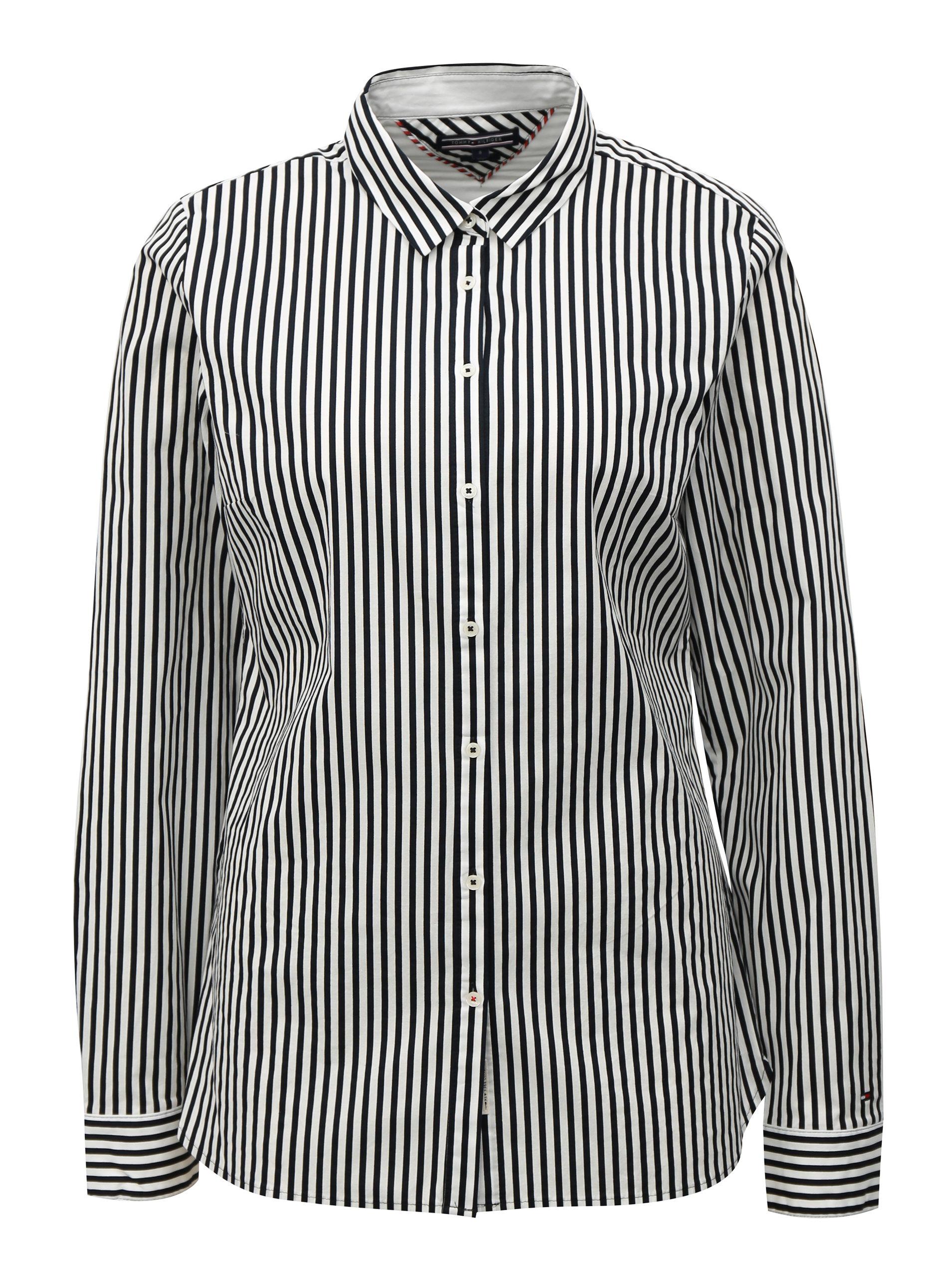 a42c2b288bdf Čierno-biela dámska pruhovaná košeľa Tommy Hilfiger ...
