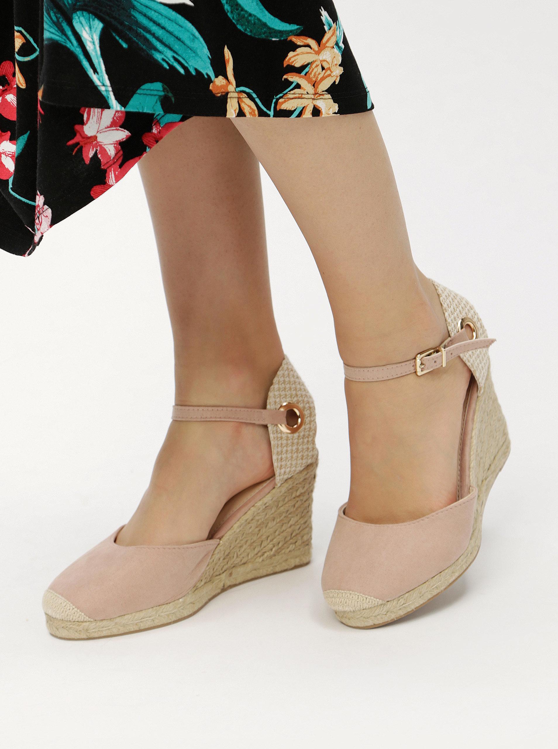 875049d33c886 Béžovo-růžové sandálky na klínku Dorothy Perkins | ZOOT.cz