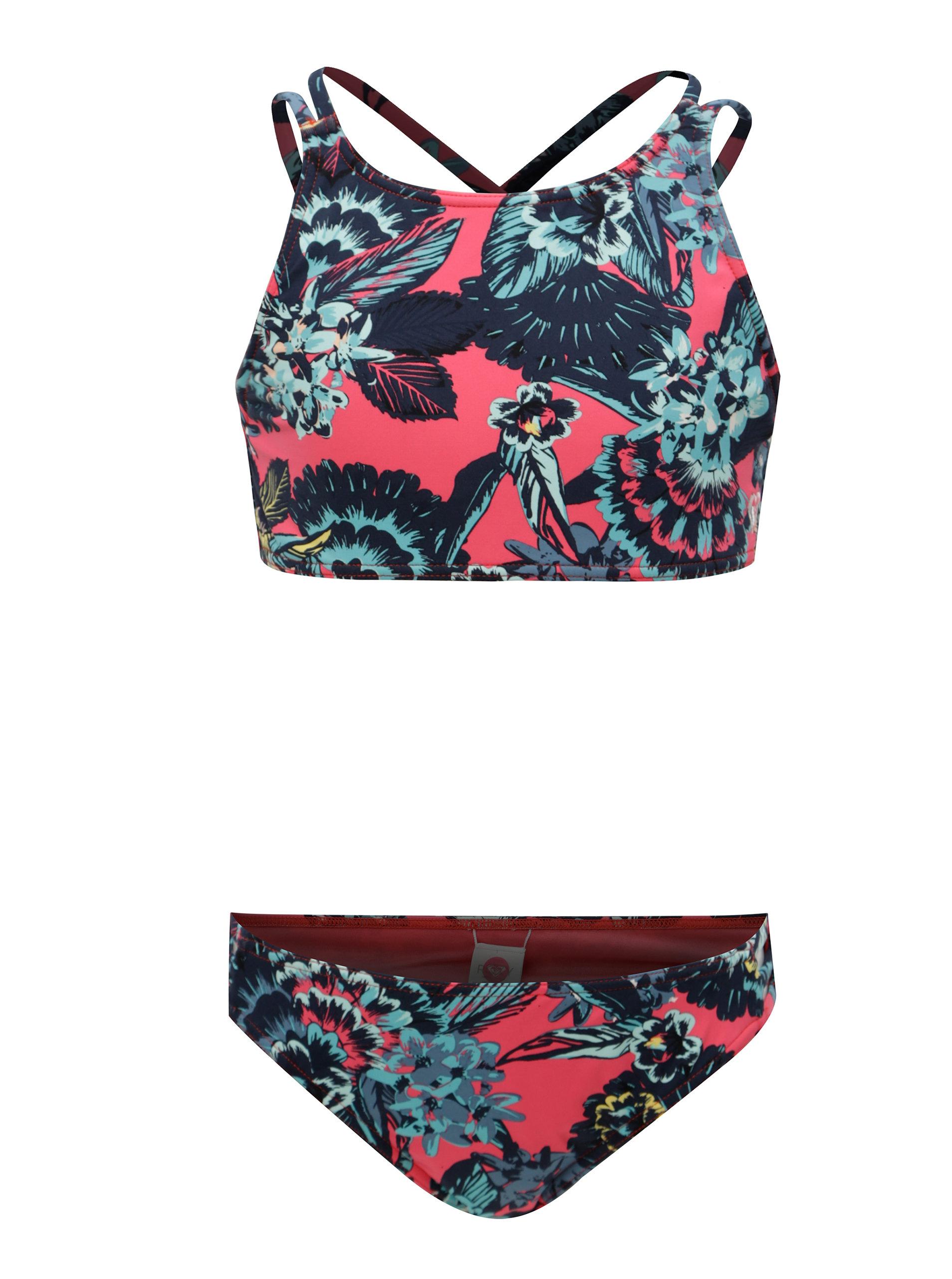 Modro-růžové holčičí květované dvoudílné plavky Roxy Le ... 8c265aab5e
