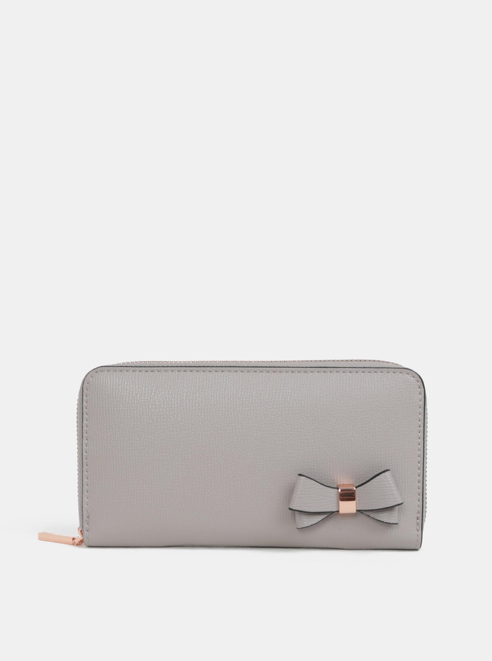 Šedá velká peněženka s mašlí Gionni Avril